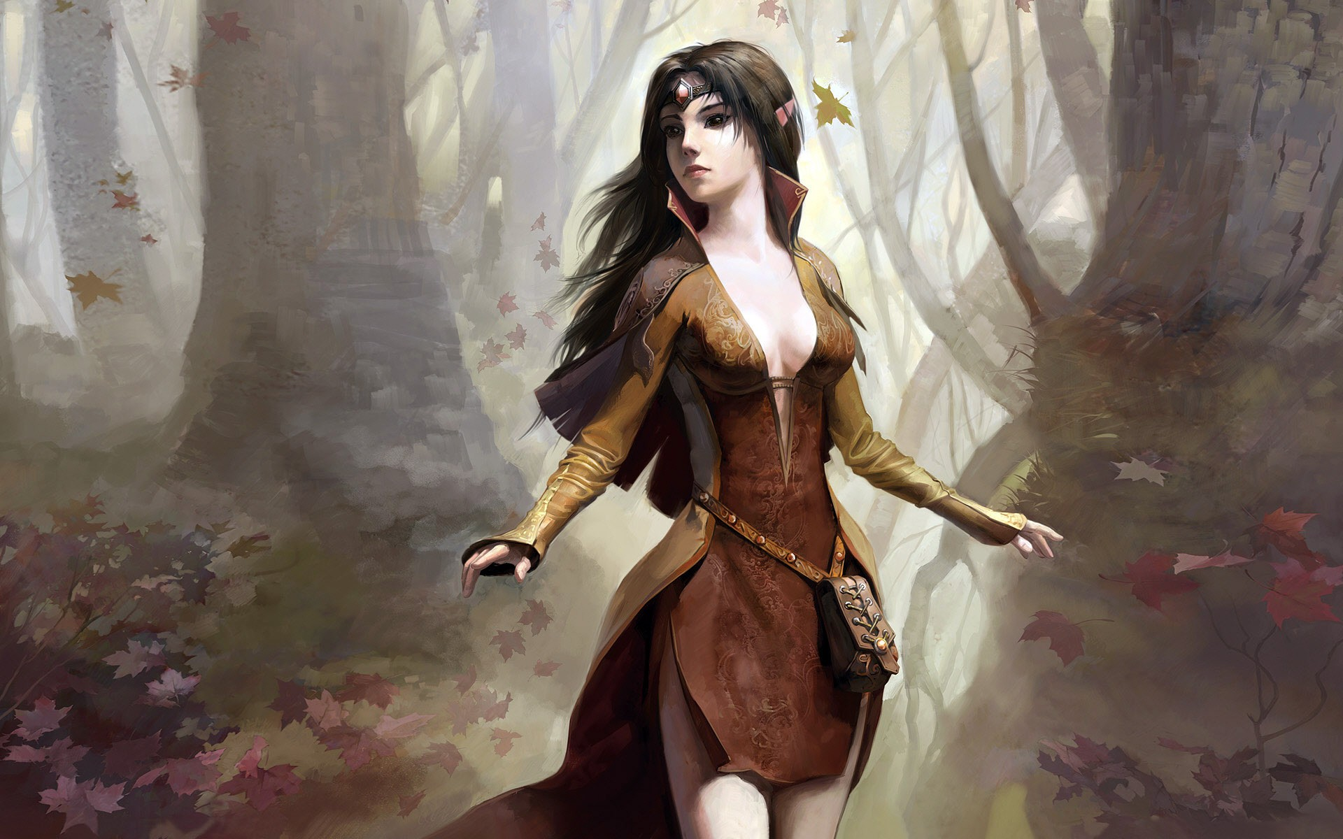 General 1920x1200 fantasy girl dark hair boobs trees