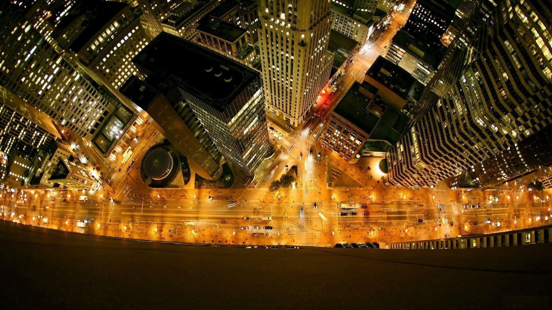General 1920x1080 cityscape lights building skyscraper New York City USA street light night street car window bird's eye view city lights