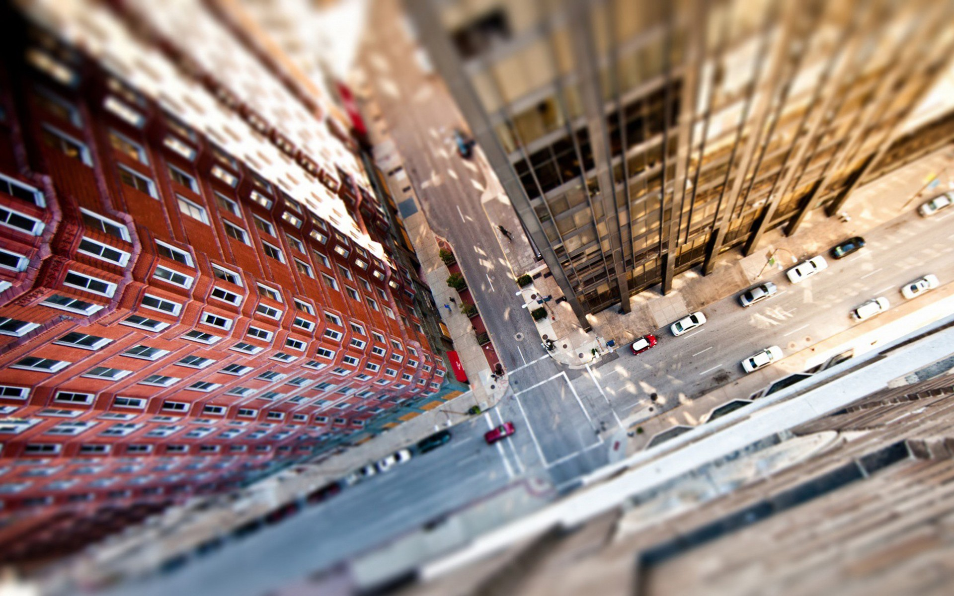 General 1920x1200 bird's eye view city street cityscape urban brown tilt shift building aerial view road car New York City USA blurred HDR