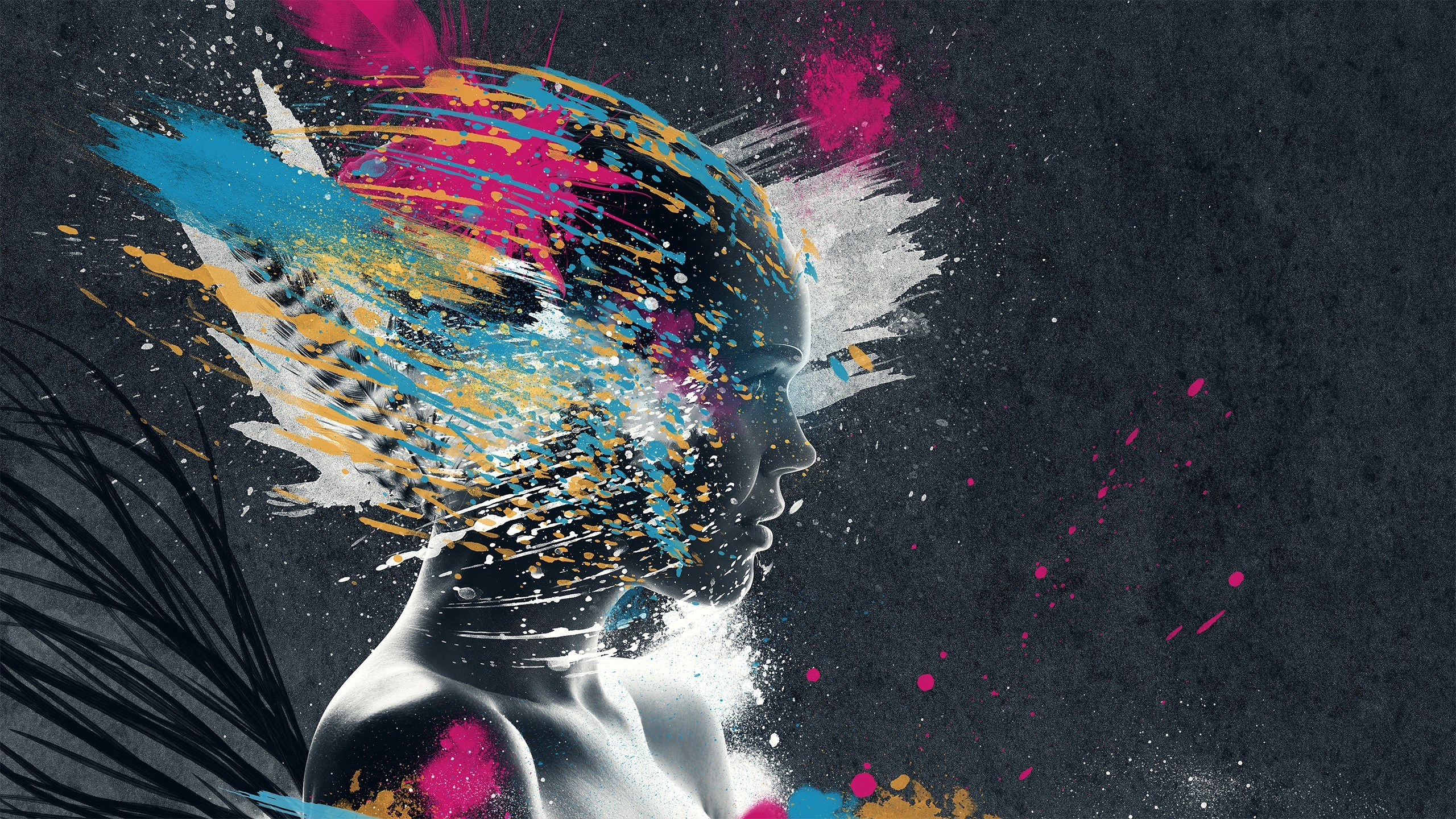 General 2560x1440 artwork people face colorful glitch art digital art paint splatter