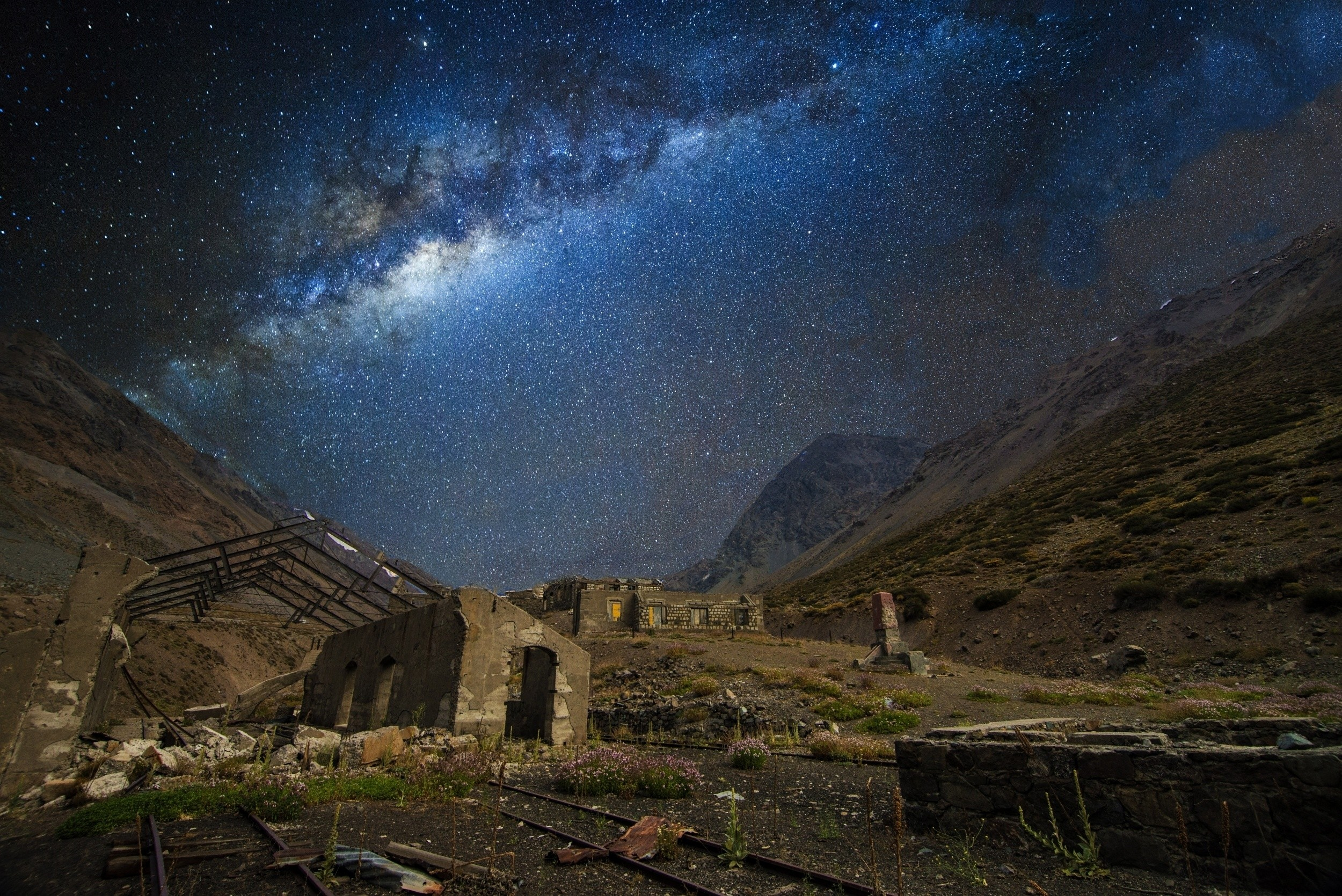 General 2500x1669 nature landscape train station abandoned mountains Milky Way galaxy starry night railway Chile long exposure