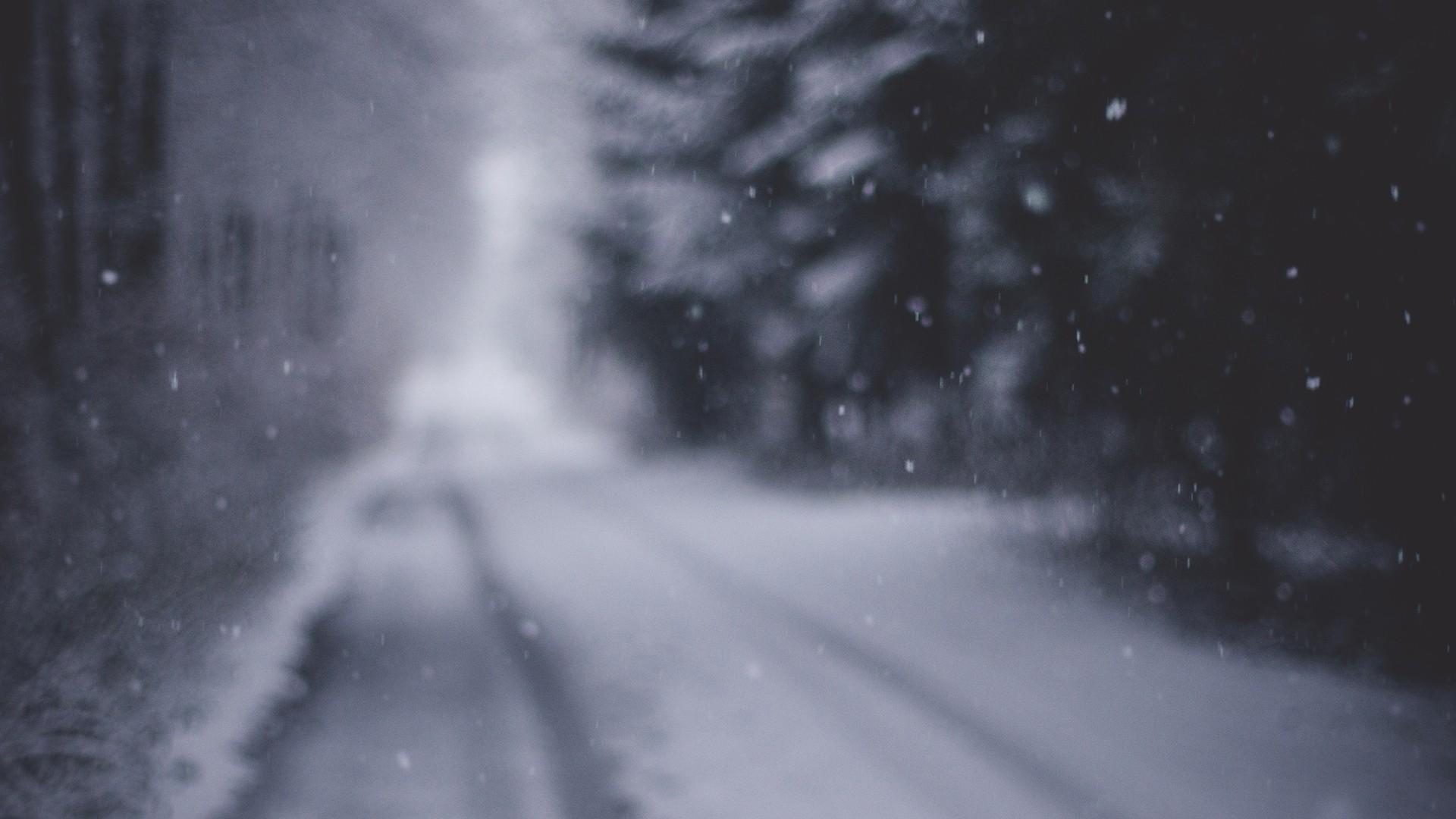 General 1920x1080 snow blurred winter road snowing gloomy gray