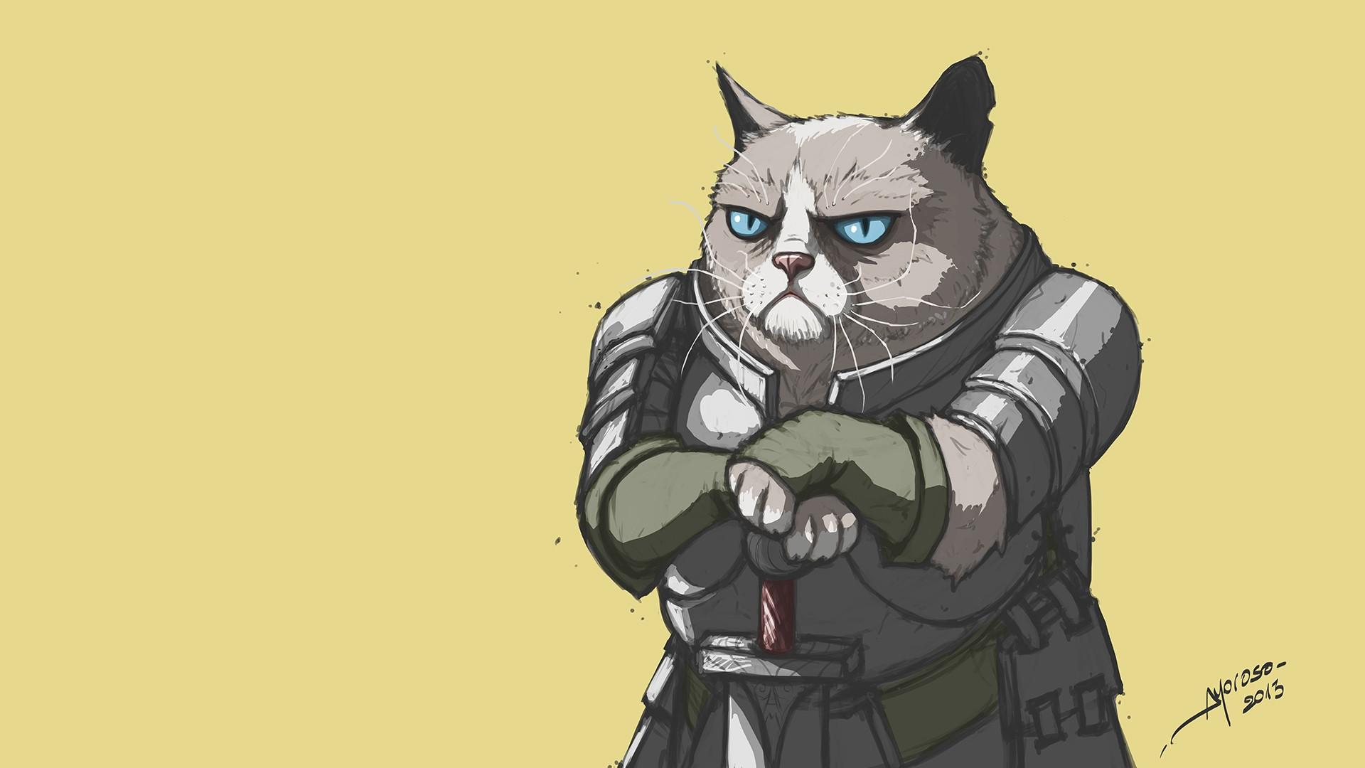 General 1920x1080 digital art Grumpy Cat memes warrior humor cats knight artwork simple background blue eyes sword armor