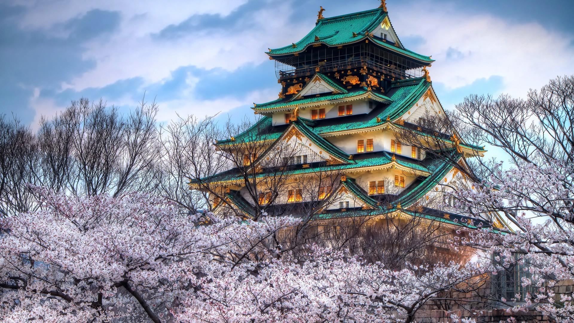 General 1920x1080 cherry blossom Japan Osaka Castle