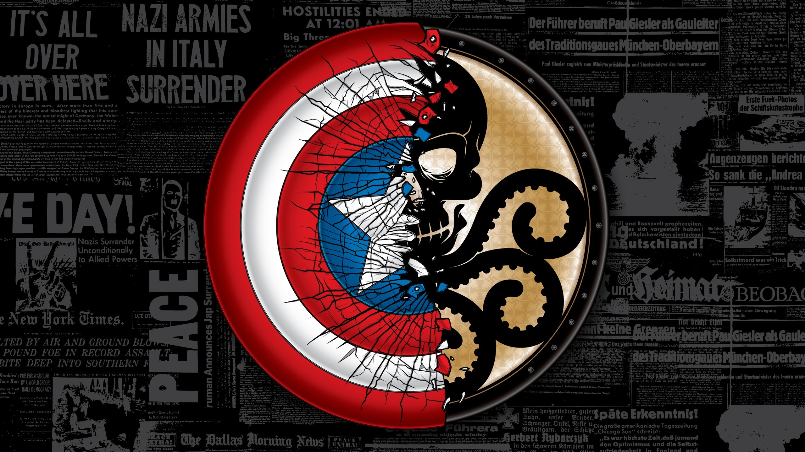 General 2560x1440 The Avengers Captain America: The Winter Soldier typography World War II newspapers cracked shield Hydra (comics)