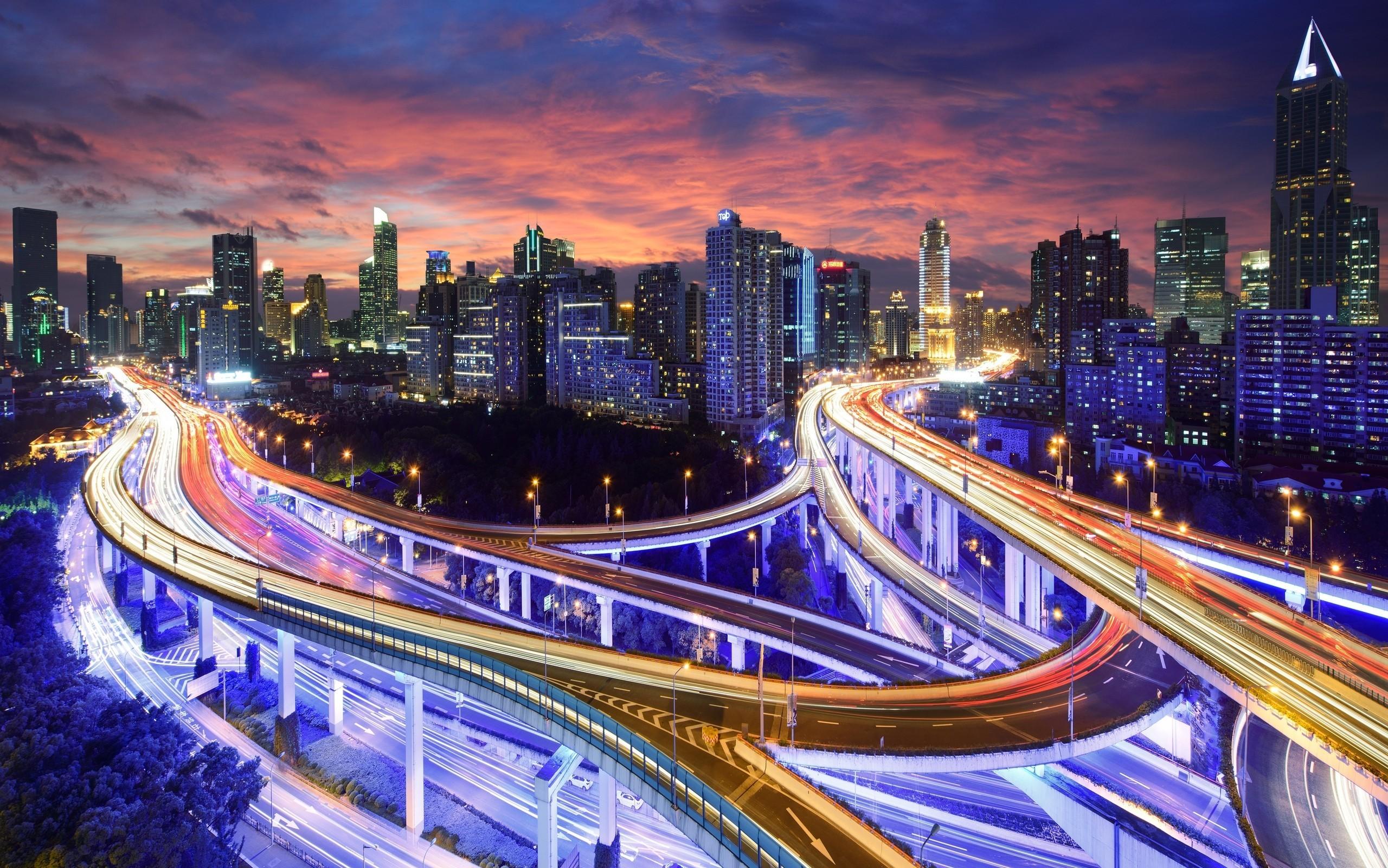 General 2560x1600 photography dusk lights building street light highway cityscape skyscraper interchange Shanghai city Asia