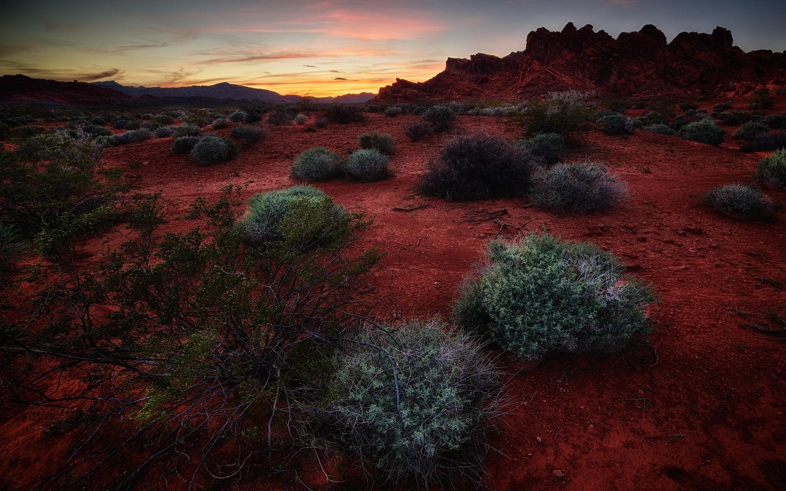 General 2500x1563 nature landscape sunset shrubs rock hills red steppe clouds desert