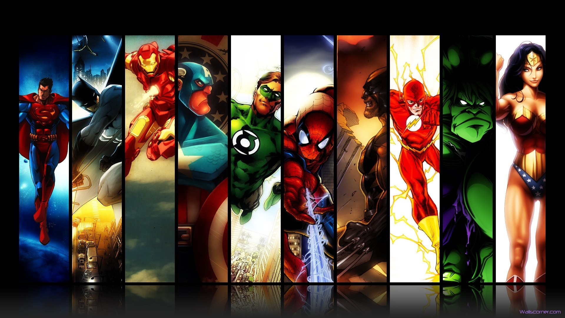 General 1920x1080 Marvel Comics DC Comics Batman Iron Man Spider-Man Green Lantern Captain America Wolverine The Flash Hulk Wonder Woman Marvel Super Heroes collage