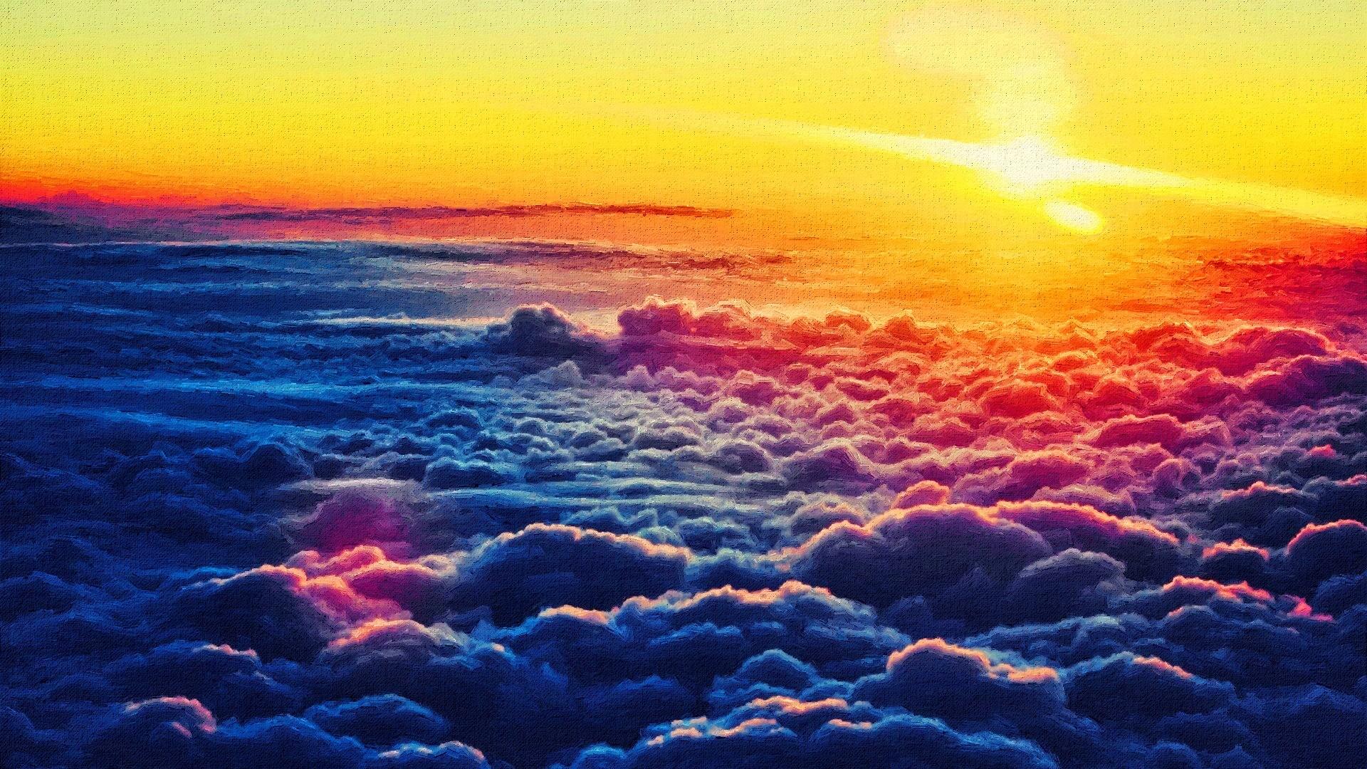 General 1920x1080 photo manipulation clouds nature sky Sun orange blue artwork