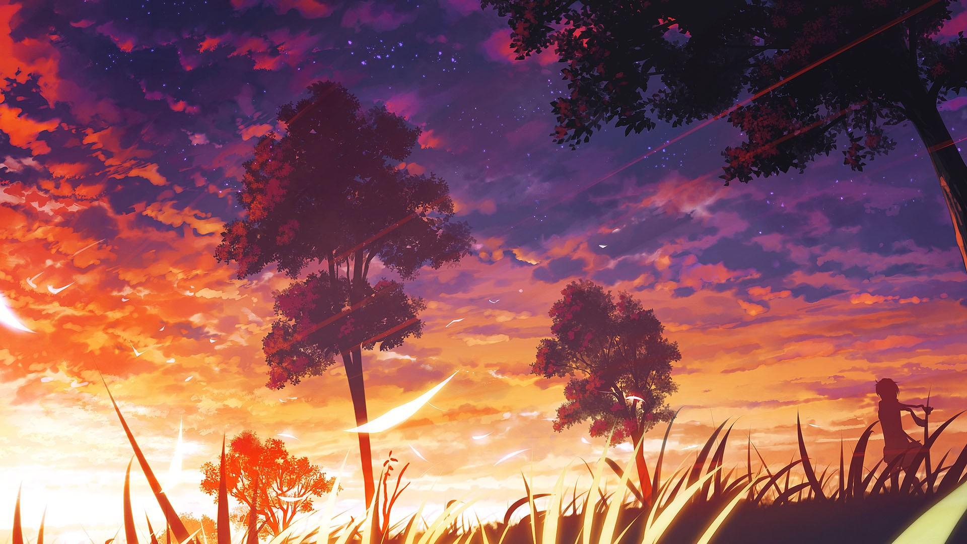 Anime 1920x1080 trees anime manga forest anime girls artwork clouds nature sky sunlight