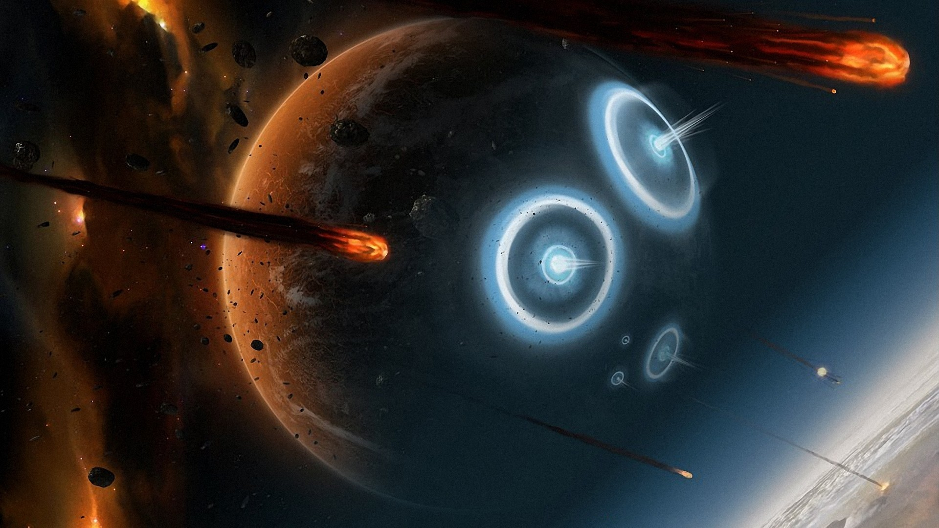 General 1920x1080 digital art universe space planet stars meteors burning explosion fire