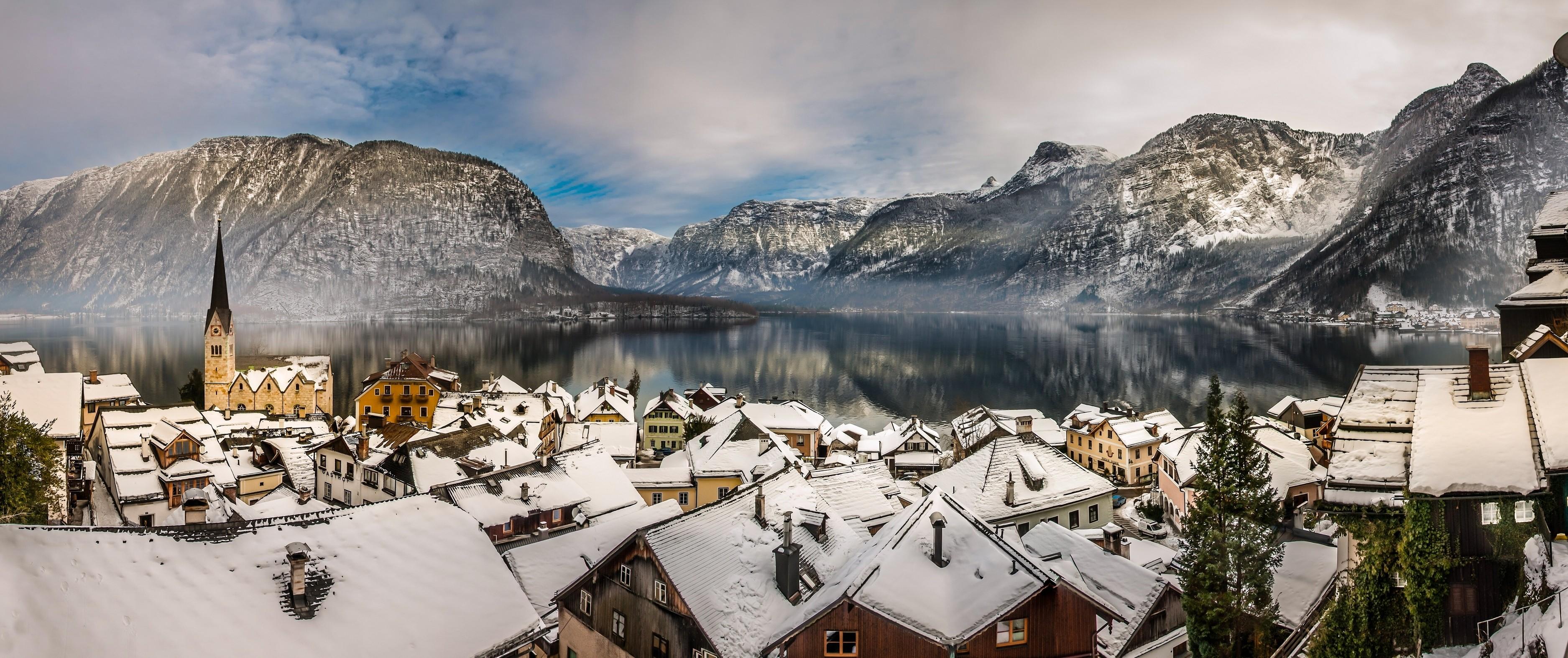 General 3750x1574 Hallstatt Austria village rooftops mountains lake cityscape landscape
