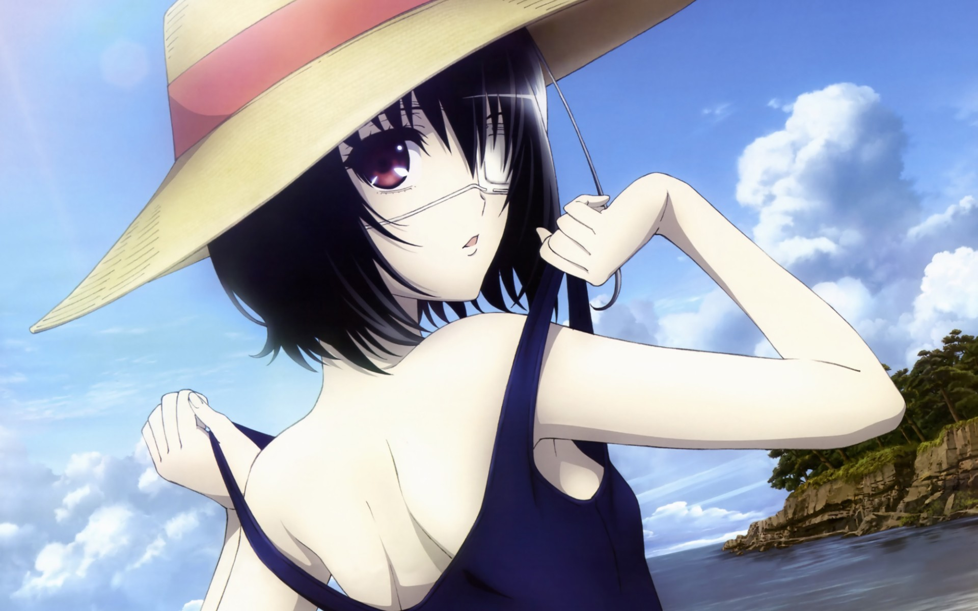 Anime 1920x1200 Another Misaki Mei anime swimwear school swimsuits anime girls hat