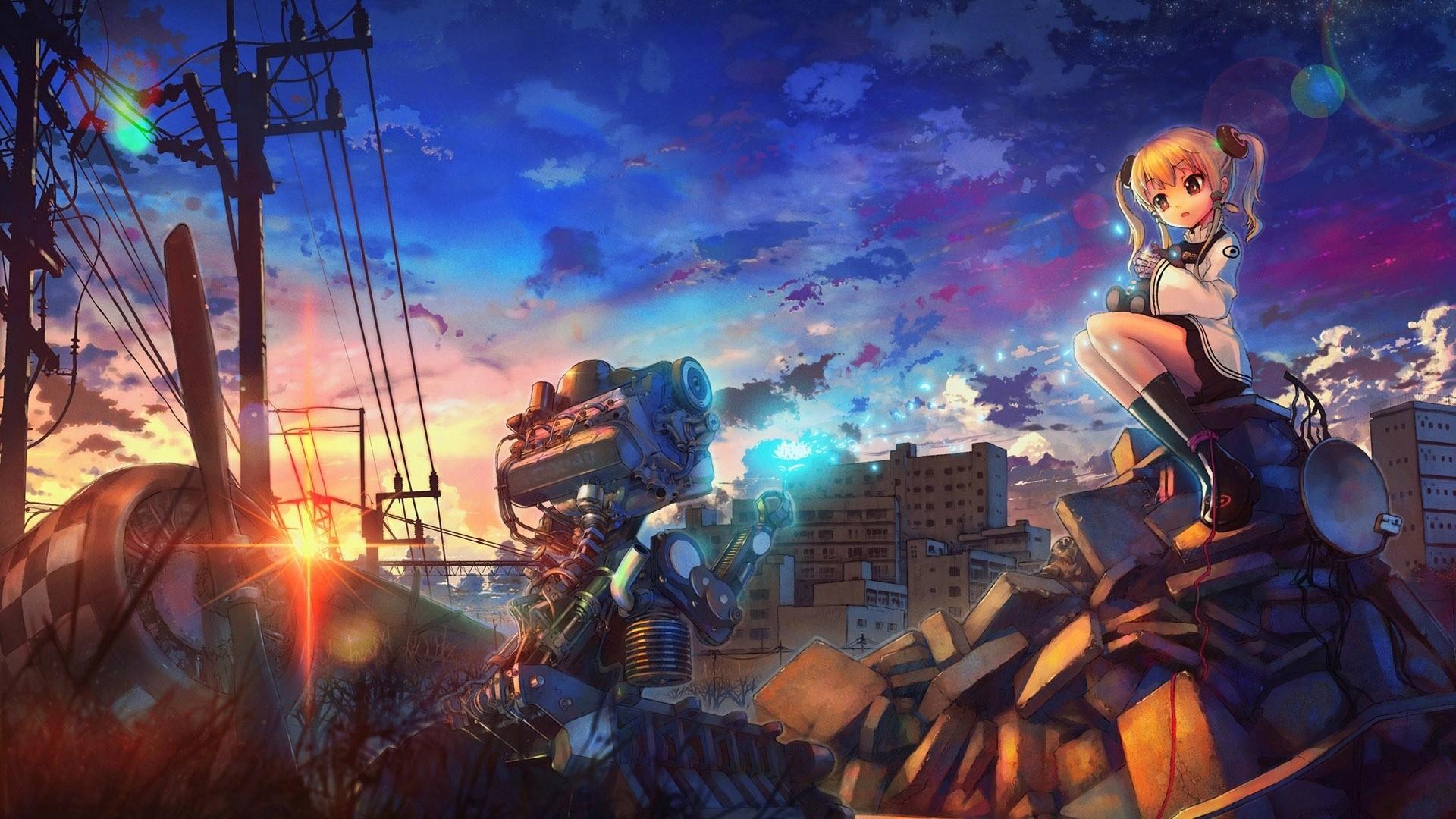 Anime 1920x1080 anime artwork anime girls city destruction engine power lines sunset utility pole sky