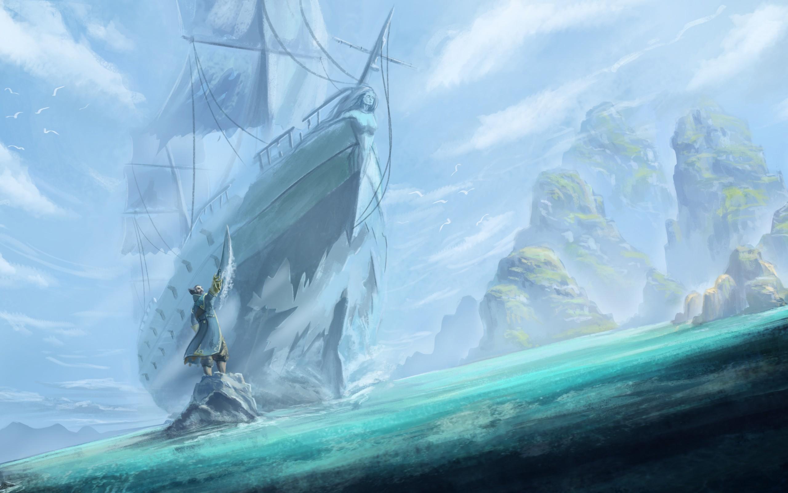 General 2560x1600 fantasy art Dota 2 video games ship sea Kunkka