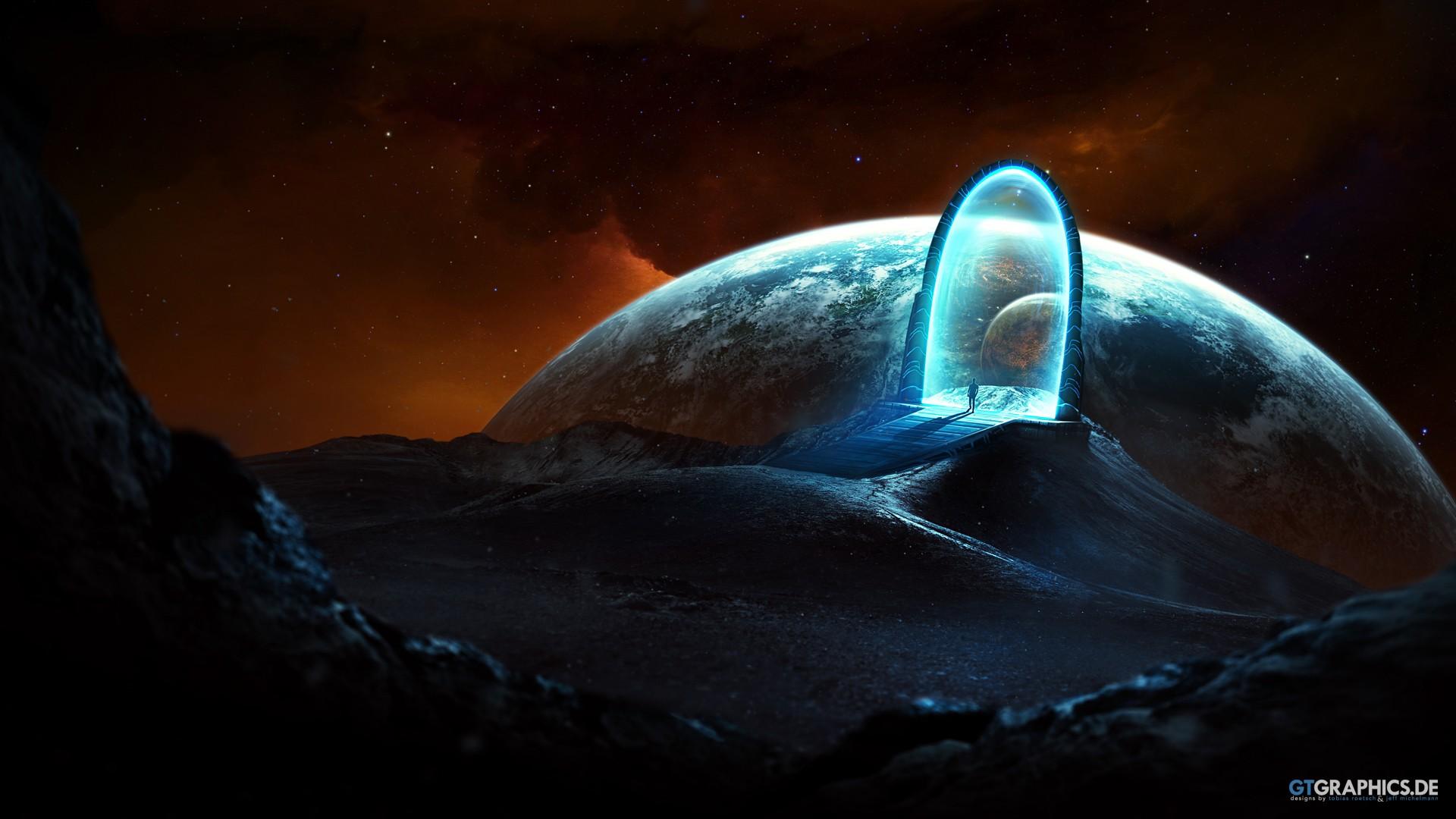 General 1920x1080 fantasy art space digital art science fiction planet gates artwork Taenaron space art