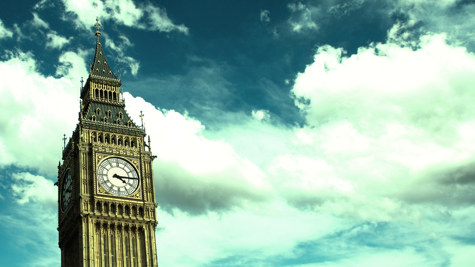 General 1920x1080 Big Ben London England architecture building sky cityscape clocks clouds clocktowers cyan