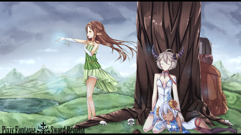 Anime 2480x1395 Pixiv Fantasia elves anime girls anime