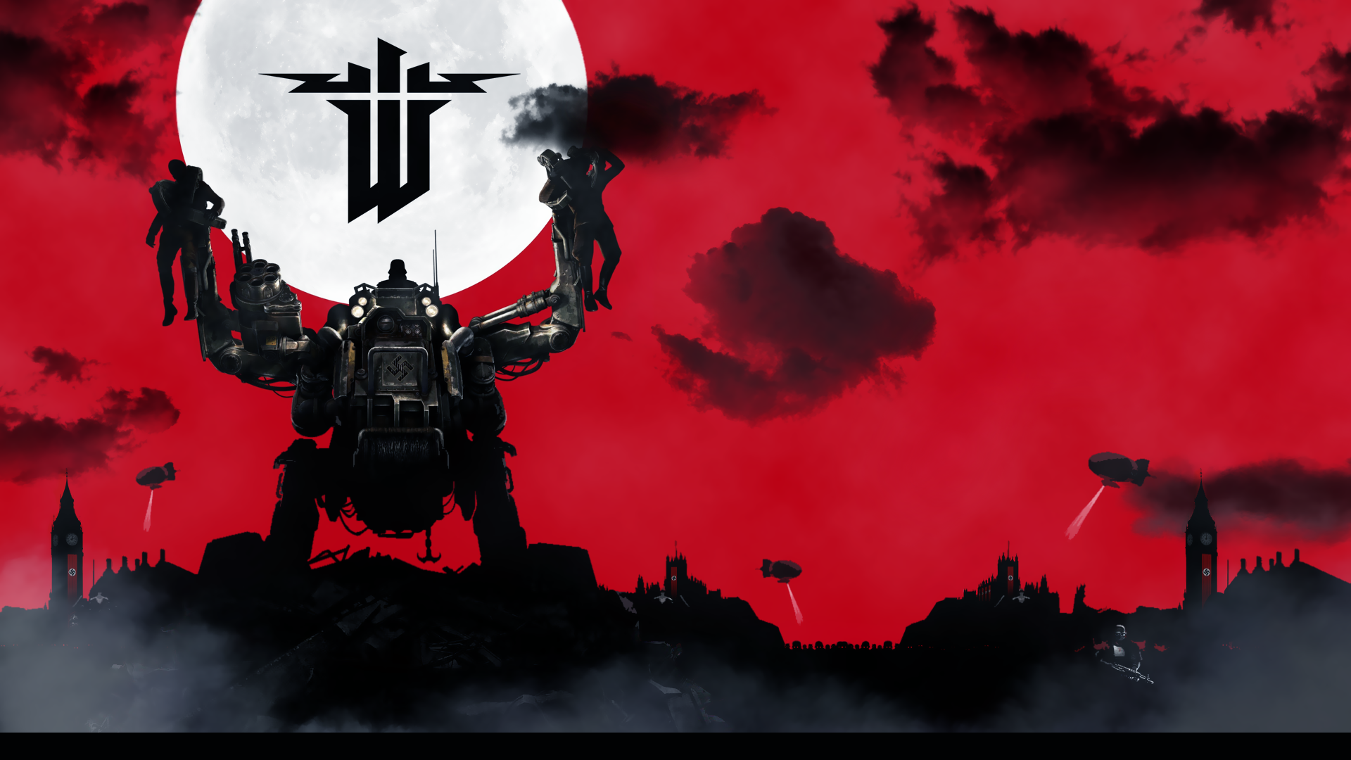 General 1920x1080 video games Wolfenstein Wolfenstein: The New Order red