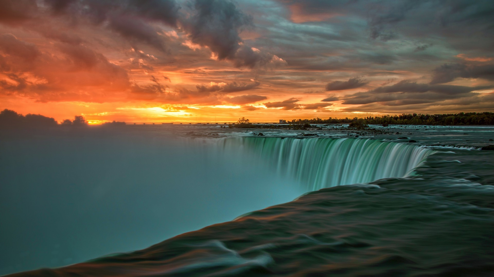 General 1920x1080 nature landscape sunset clouds water Niagara Falls waterfall long exposure trees stones Canada Ontario