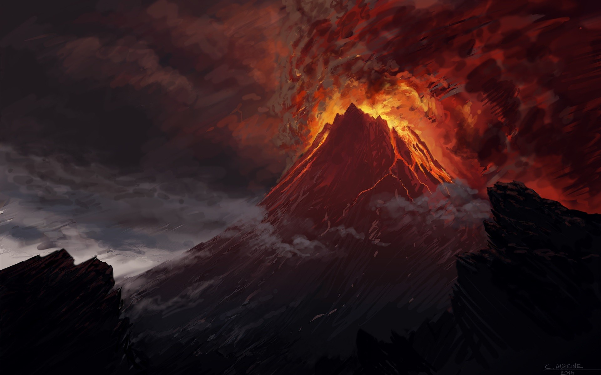 General 1920x1200 Mount Doom volcano The Lord of the Rings artwork lava Mordor