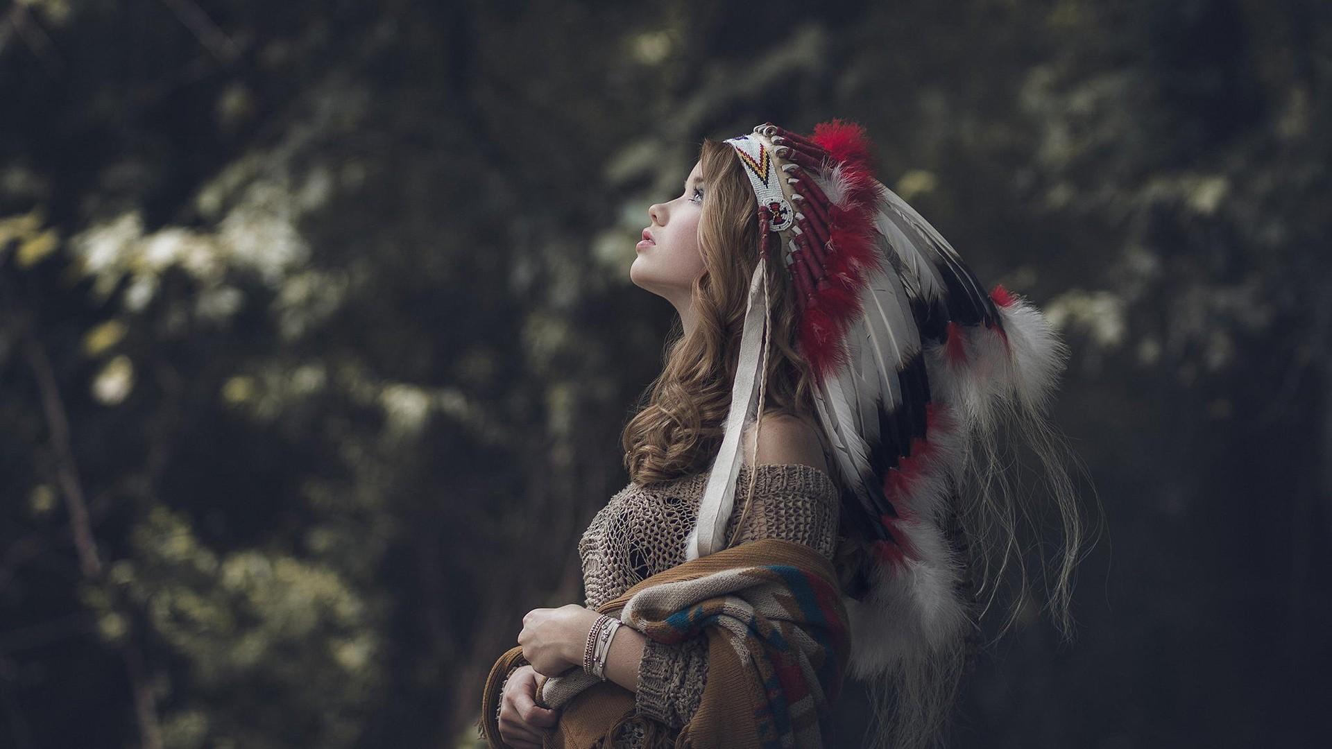 People 1920x1080 women blonde long hair profile looking into the distance bokeh women outdoors sacrilege outdoors looking up bracelets Native American clothing headdress Abigail Kasyanyuk