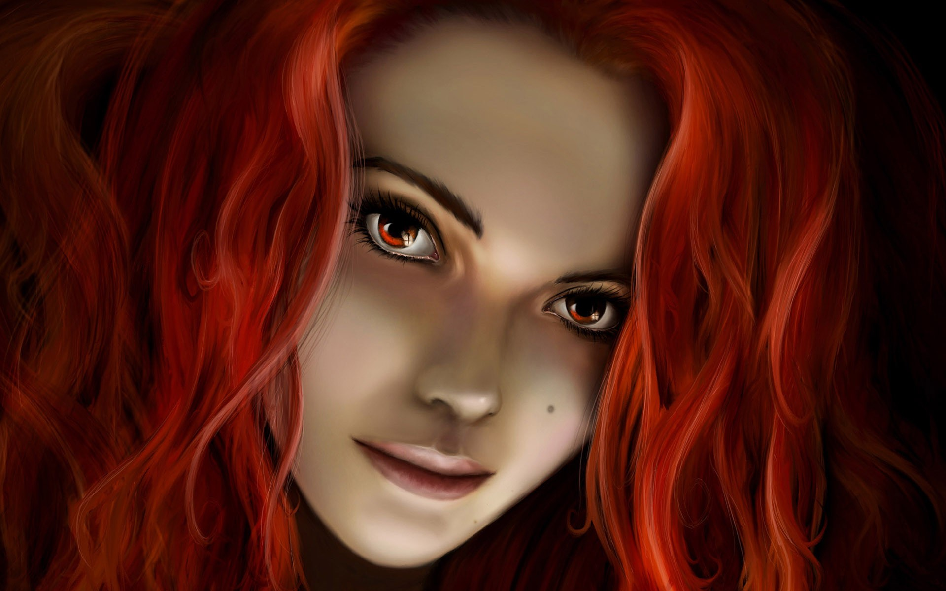 General 1920x1200 fantasy girl redhead women face artwork