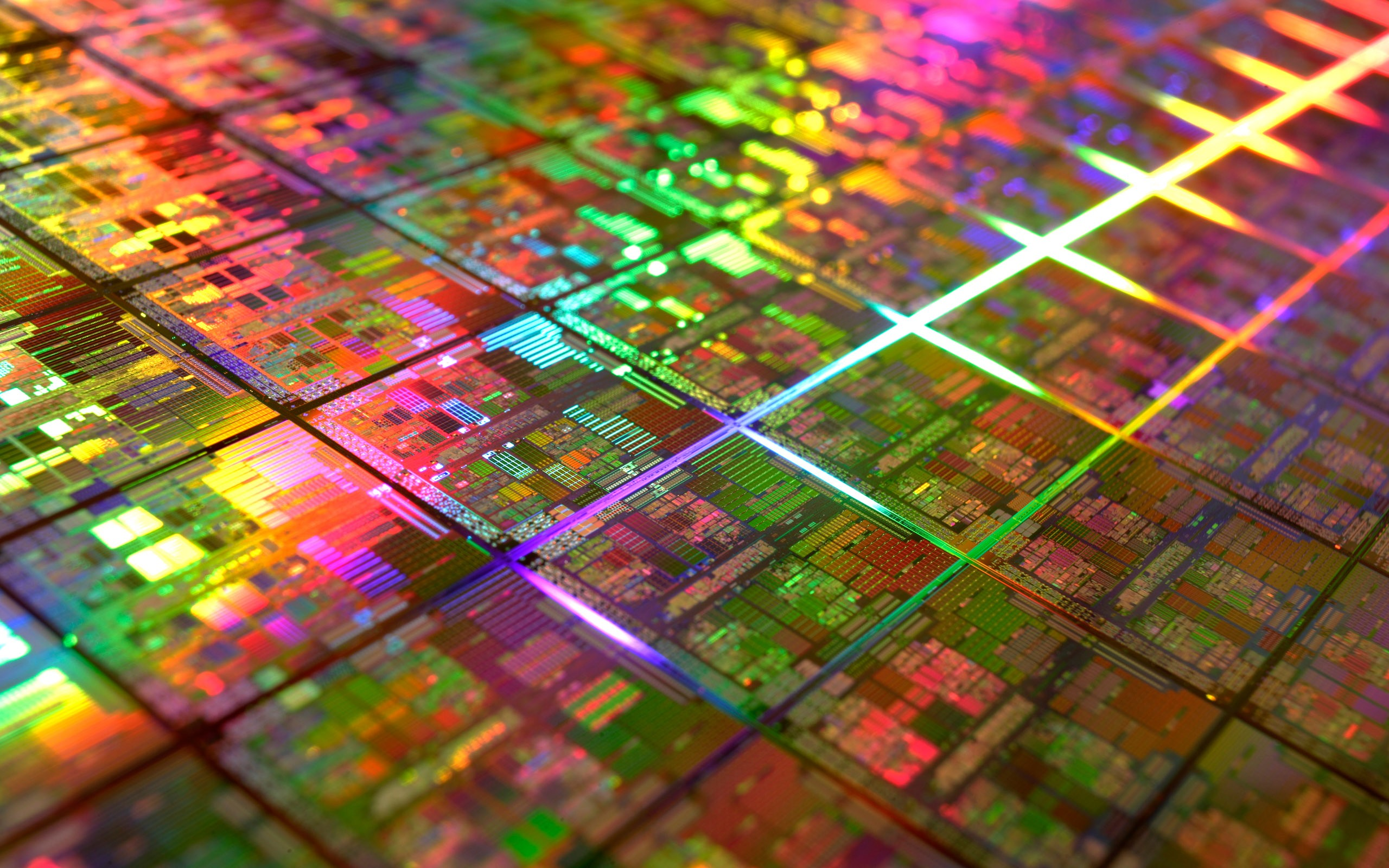 General 2560x1600 circuits wafer silicon colorful microchip technology geometry IT CPU photography