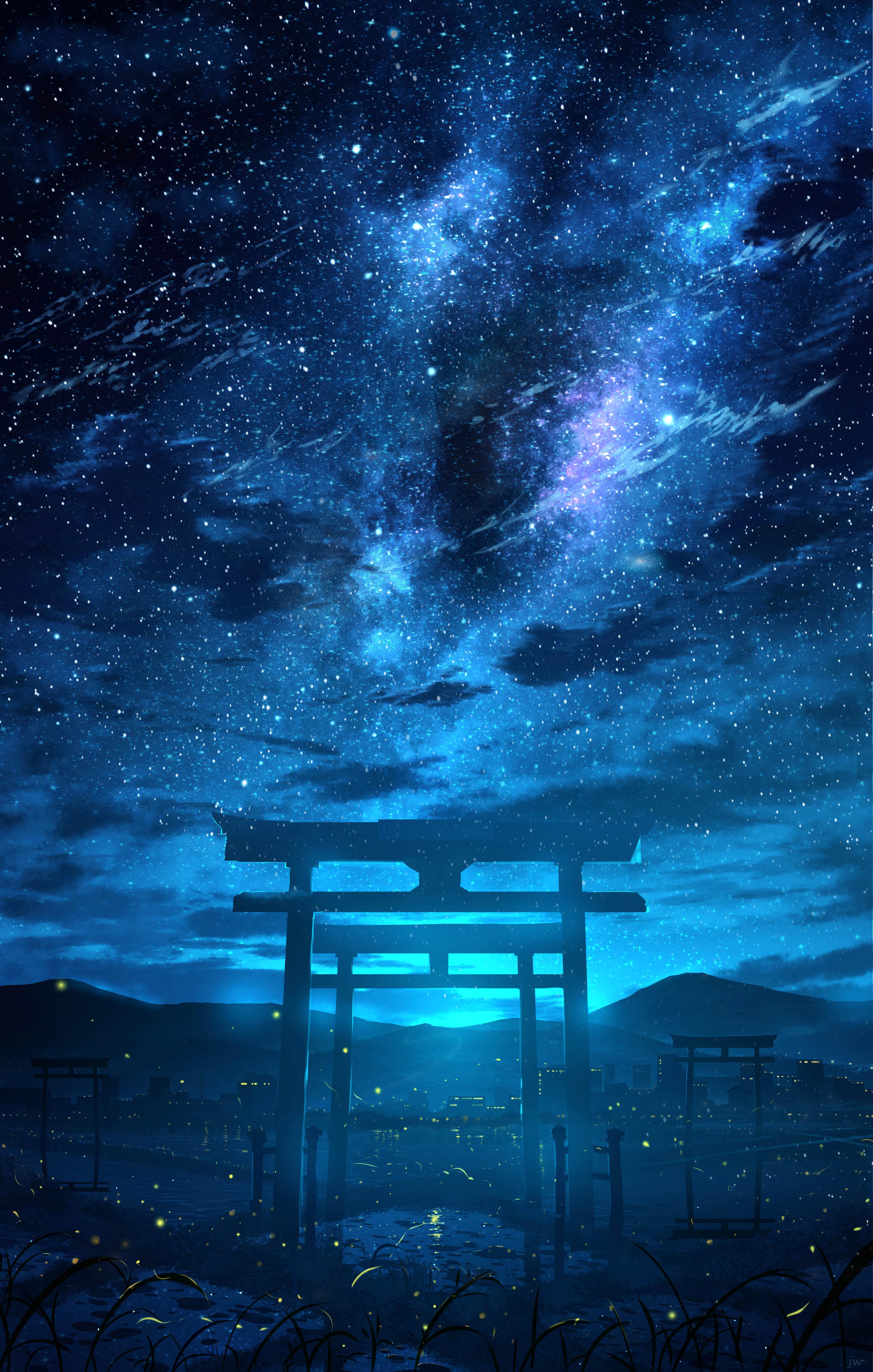Anime 3453x5425 anime HuashiJW torii night sky