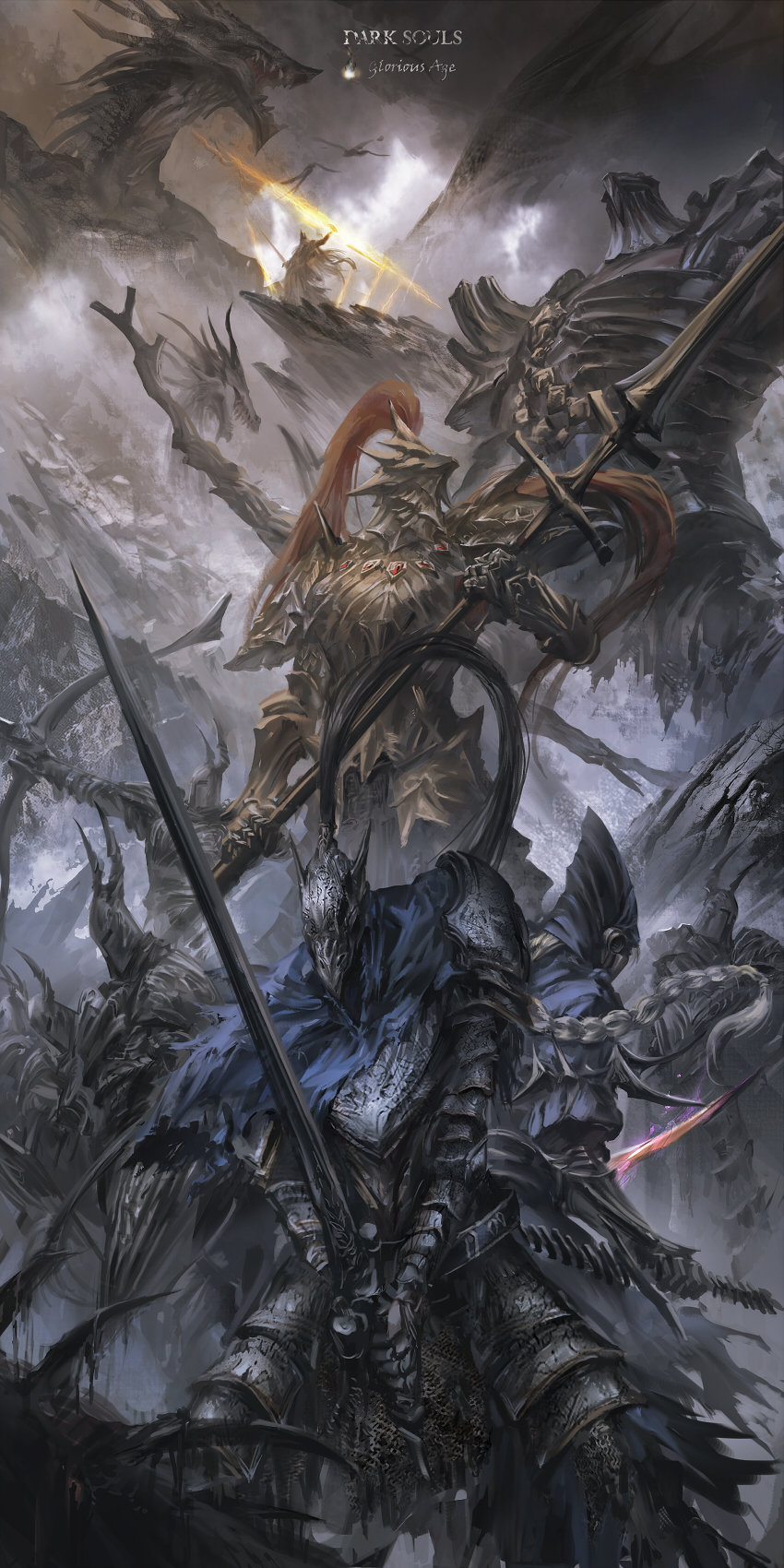 General 850x1700 fantasy art artwork Dark Souls video game art Artorias the Abysswalker Dragon Slayer Ornstein