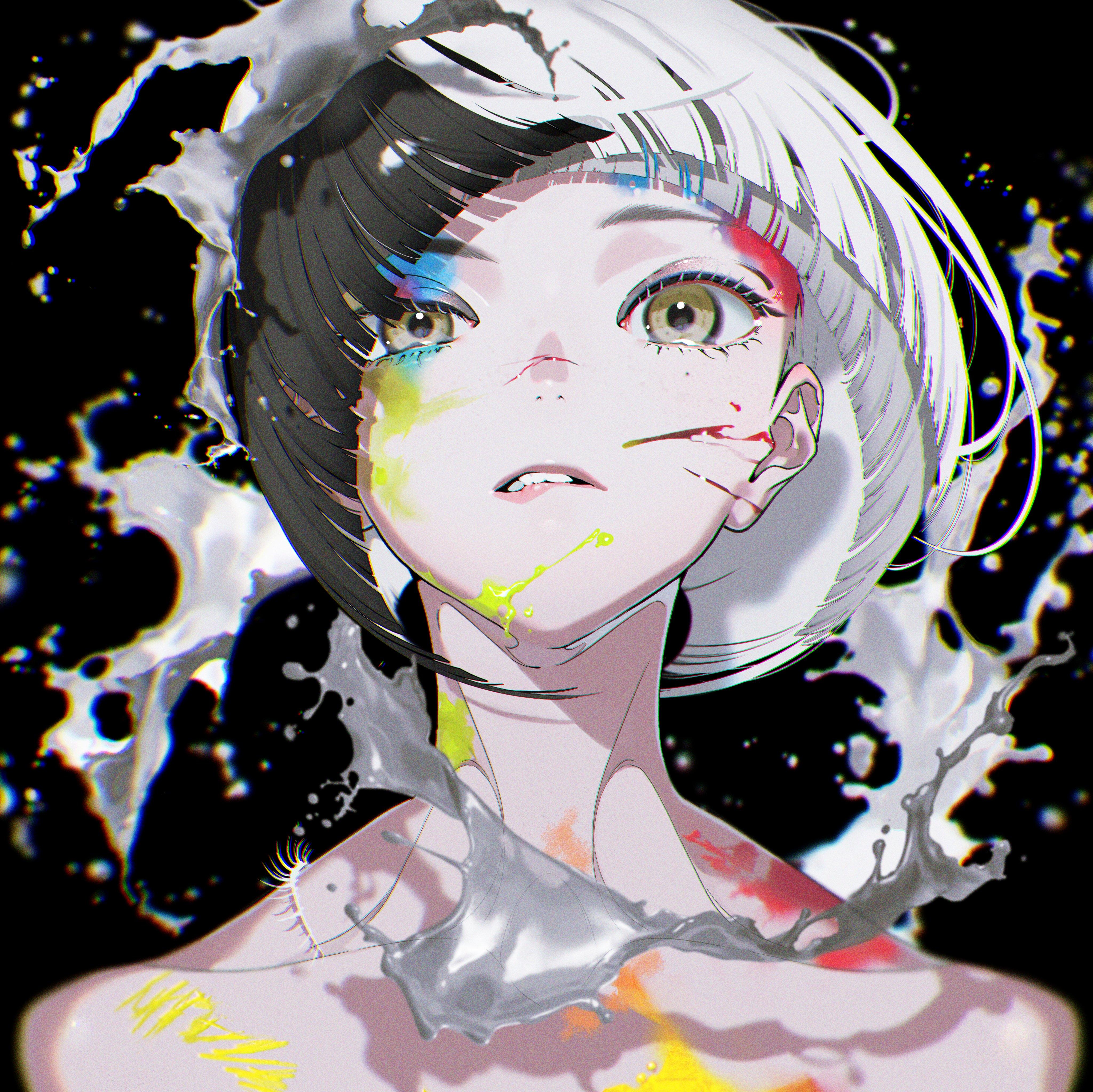 Anime 4096x4095 yoneyama mai grey hair black hair biting lip white hair two tone hair brown eyes multi-colored hair