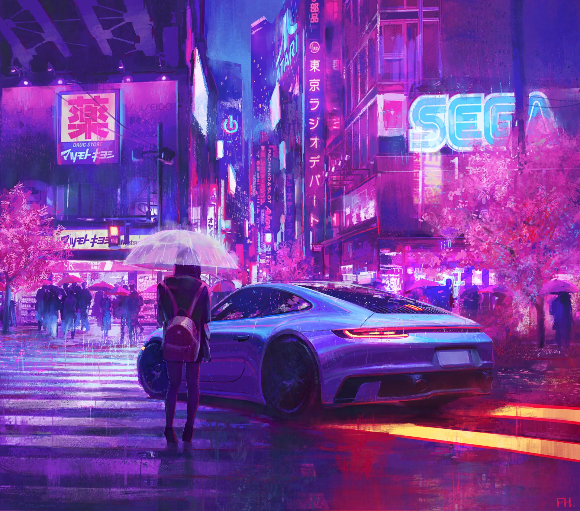 General 1920x1690 cyberpunk car rain street umbrella Sega
