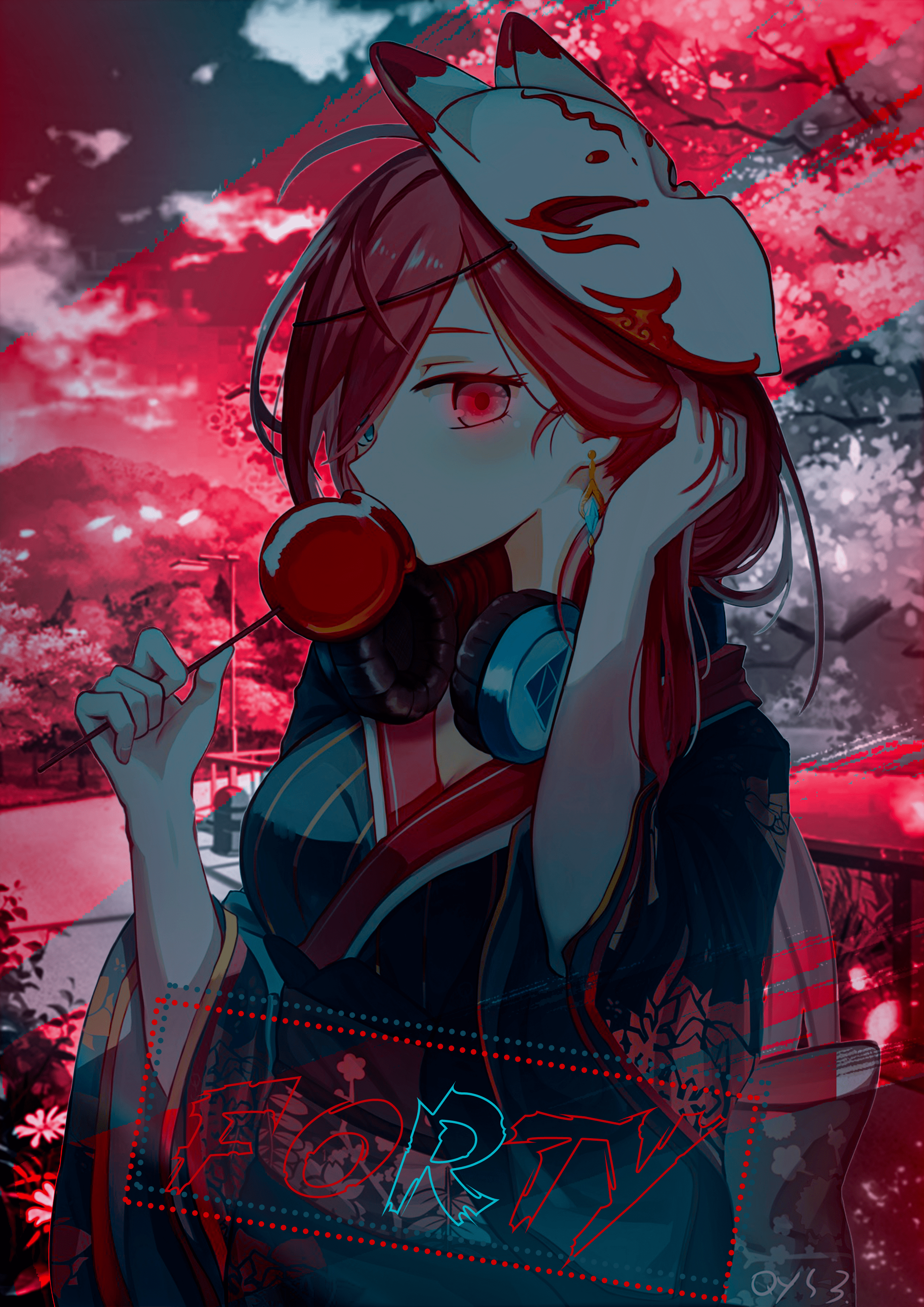 Anime 2480x3507 yukata anime glowing heterochromia redhead mask Japanese clothes anime girls