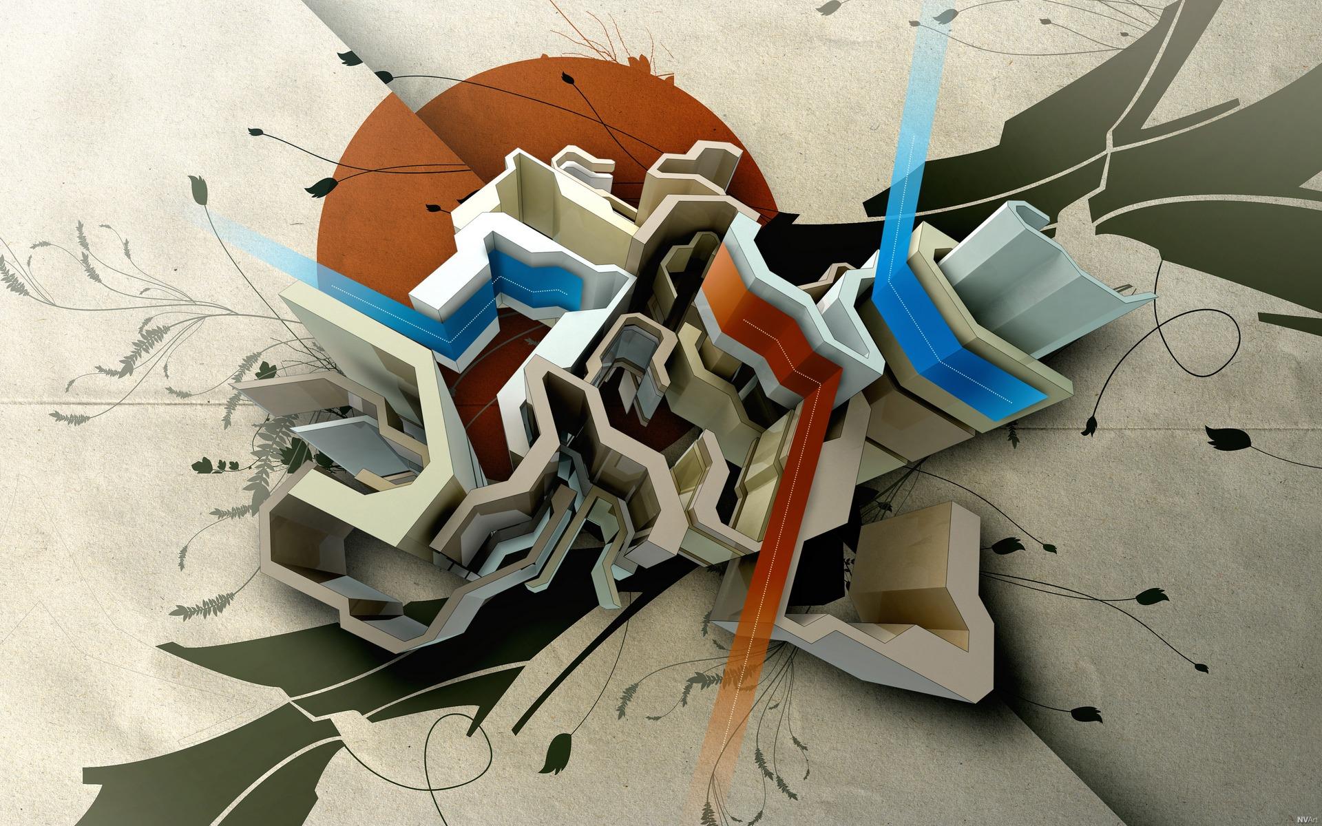 General 1920x1200 abstract digital art artwork shapes lines