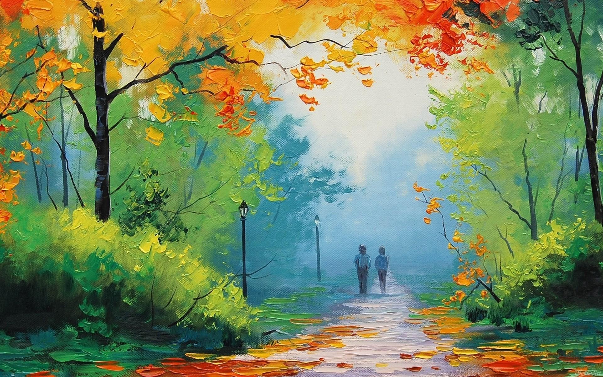 General 1920x1200 painting fall park Graham Gercken path artwork trees lantern
