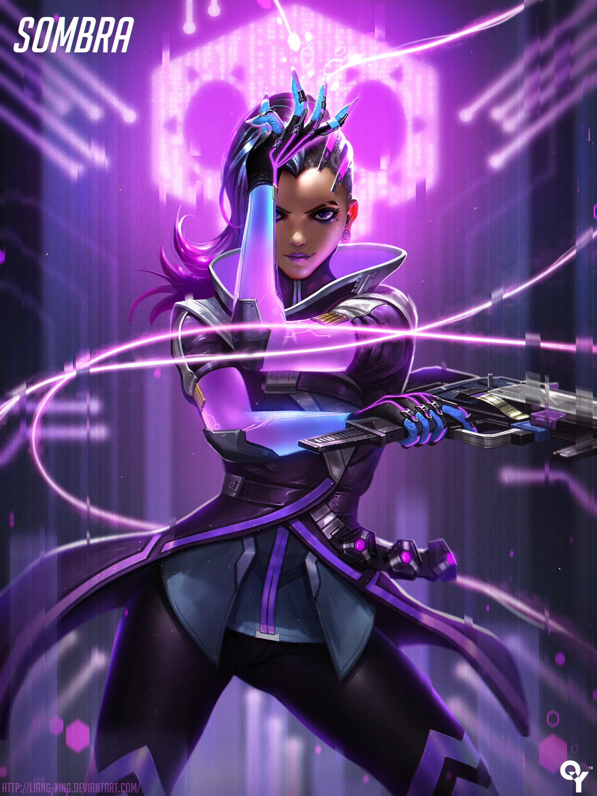Anime 2000x2666 anime anime girls Overwatch Sombra (Overwatch) Sombra long hair purple hair purple eyes weapon gun