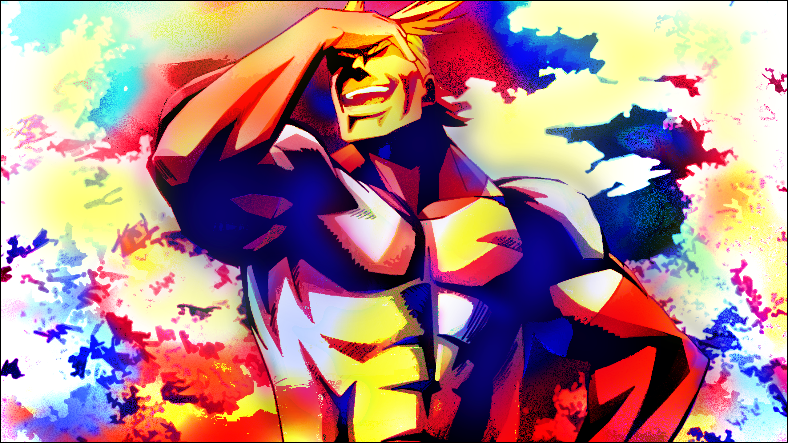 Anime 2560x1440 Boku no Hero Academia bright anime LSD hero abstract
