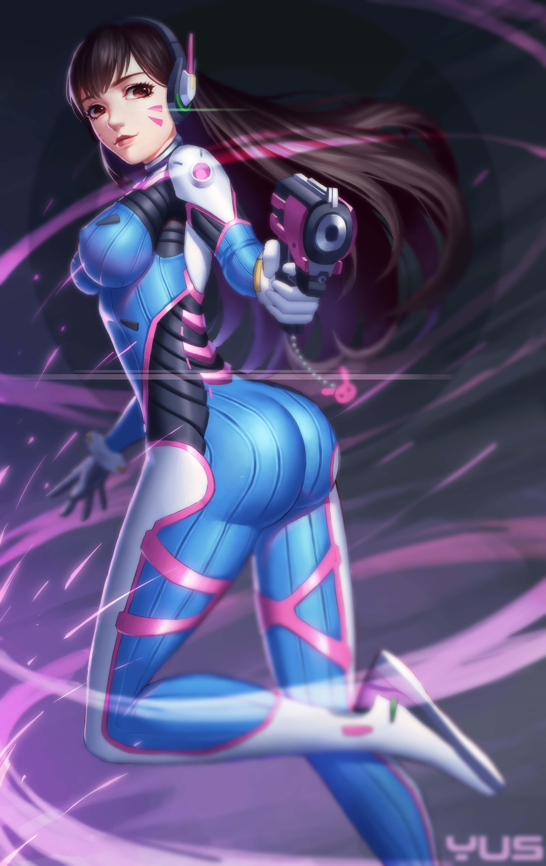 ass, long hair, purple eyes, Yus, anime, anime girls