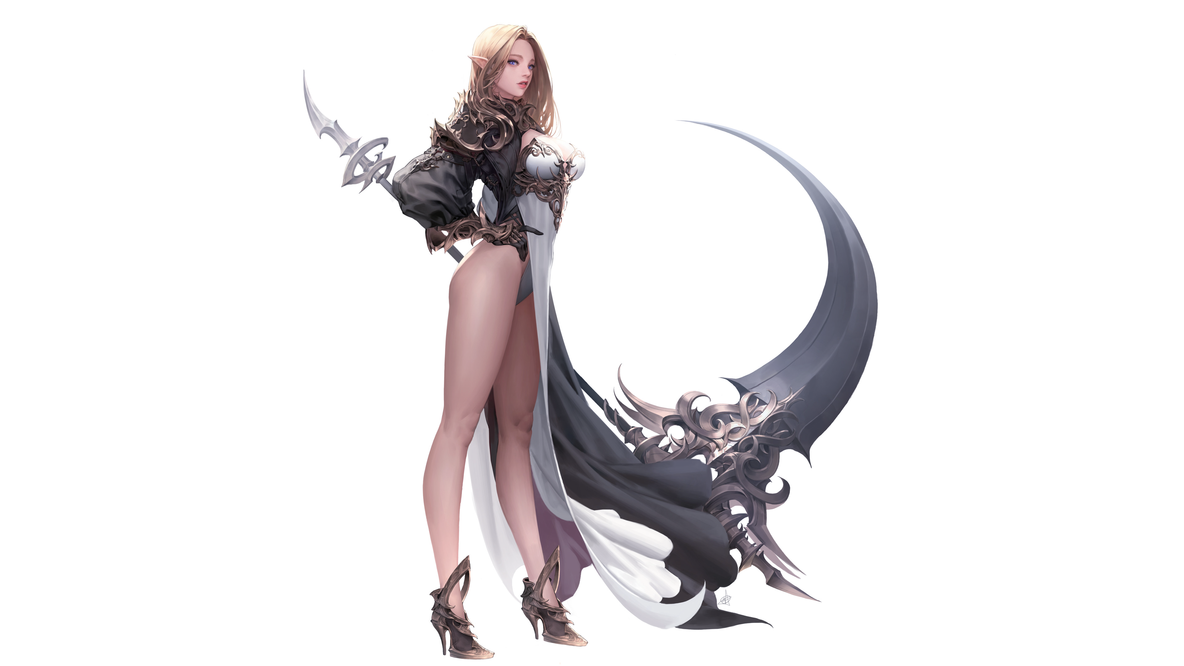 General 3828x2154 digital art women pointy ears armor gauntlets blonde cloaks fantasy weapon scythe high heels standing white  background pointed ears blue eyes Tera online Ake (Cherrylich)