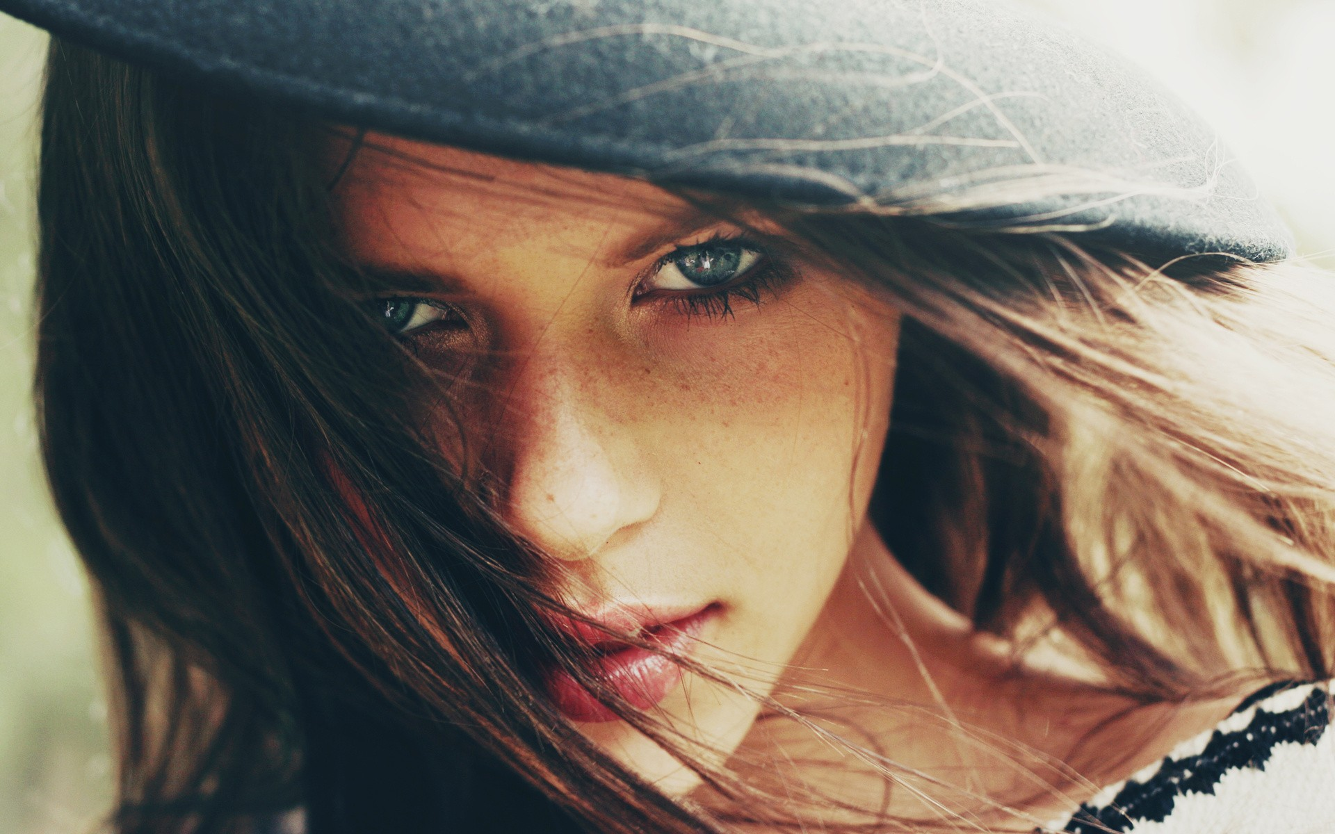 People 1920x1200 women blue eyes hat looking at viewer freckles hair in face closeup face brunette