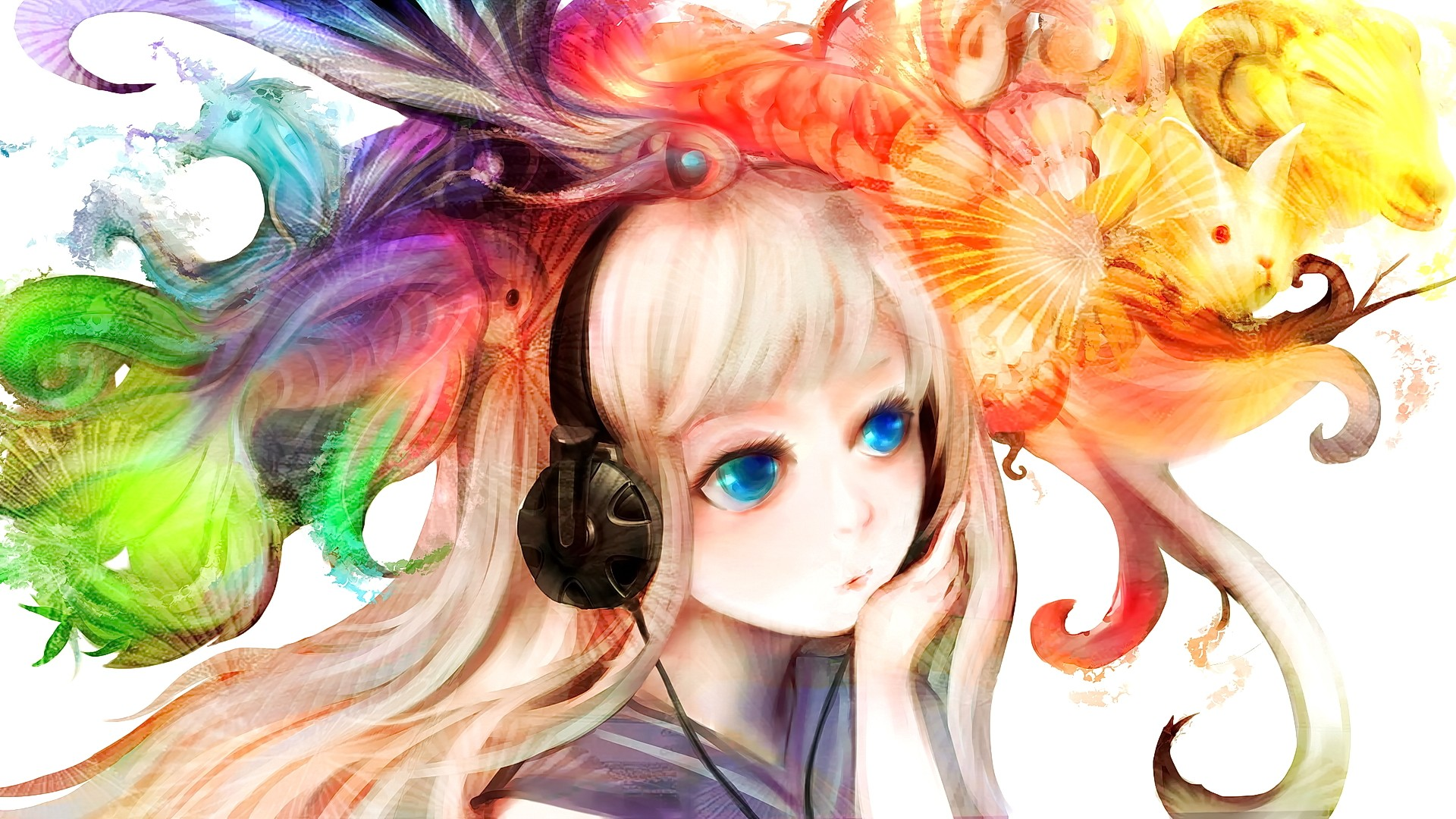 Anime 1920x1080 anime anime girls animals headphones original characters blue eyes fish unicorn rabbits