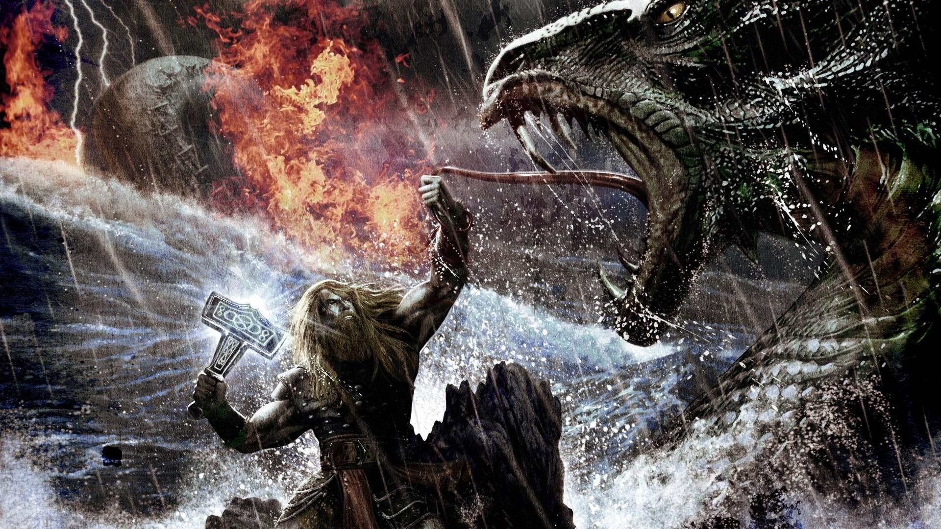 General 1920x1080 Amon Amarth melodic death metal battle warrior Fantasy Battle digital art fantasy art medieval Thor Mjolnir music cover art album covers rock bands extreme metal