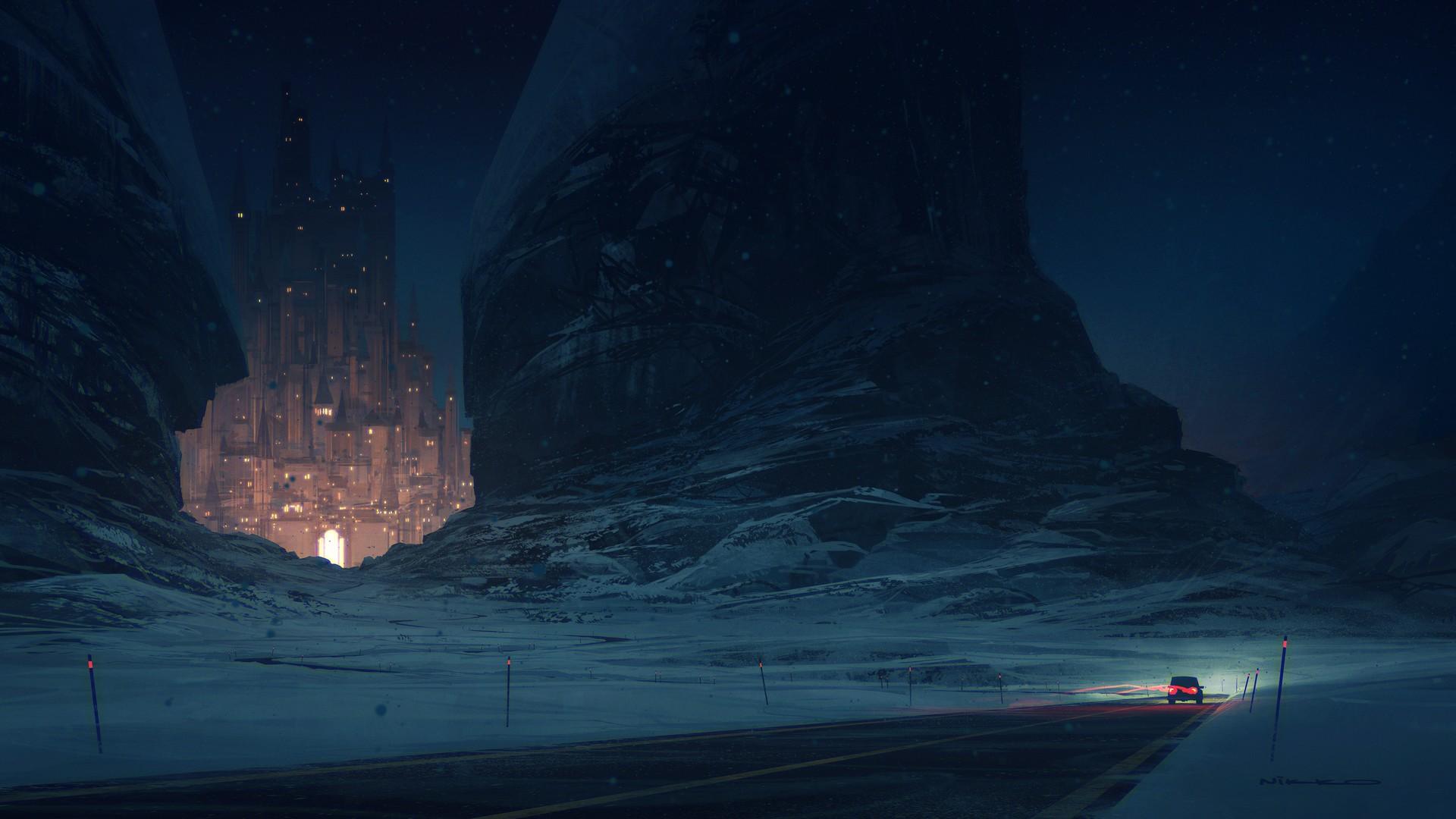 General 1920x1080 Nikolai Lockertsen artwork digital art car castle snow mountains