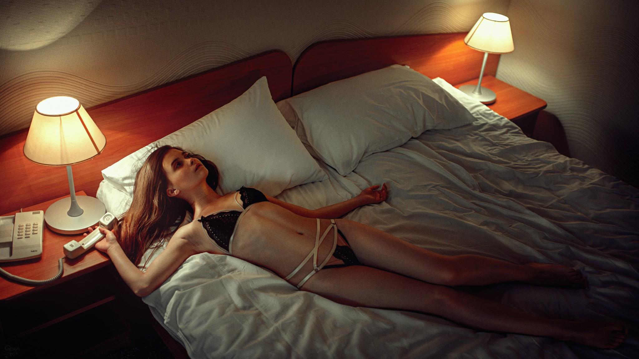 People 2048x1152 women brunette lingerie in bed black bras black panties lying on back skinny looking away hotel Georgy Chernyadyev Janna Evstafeva