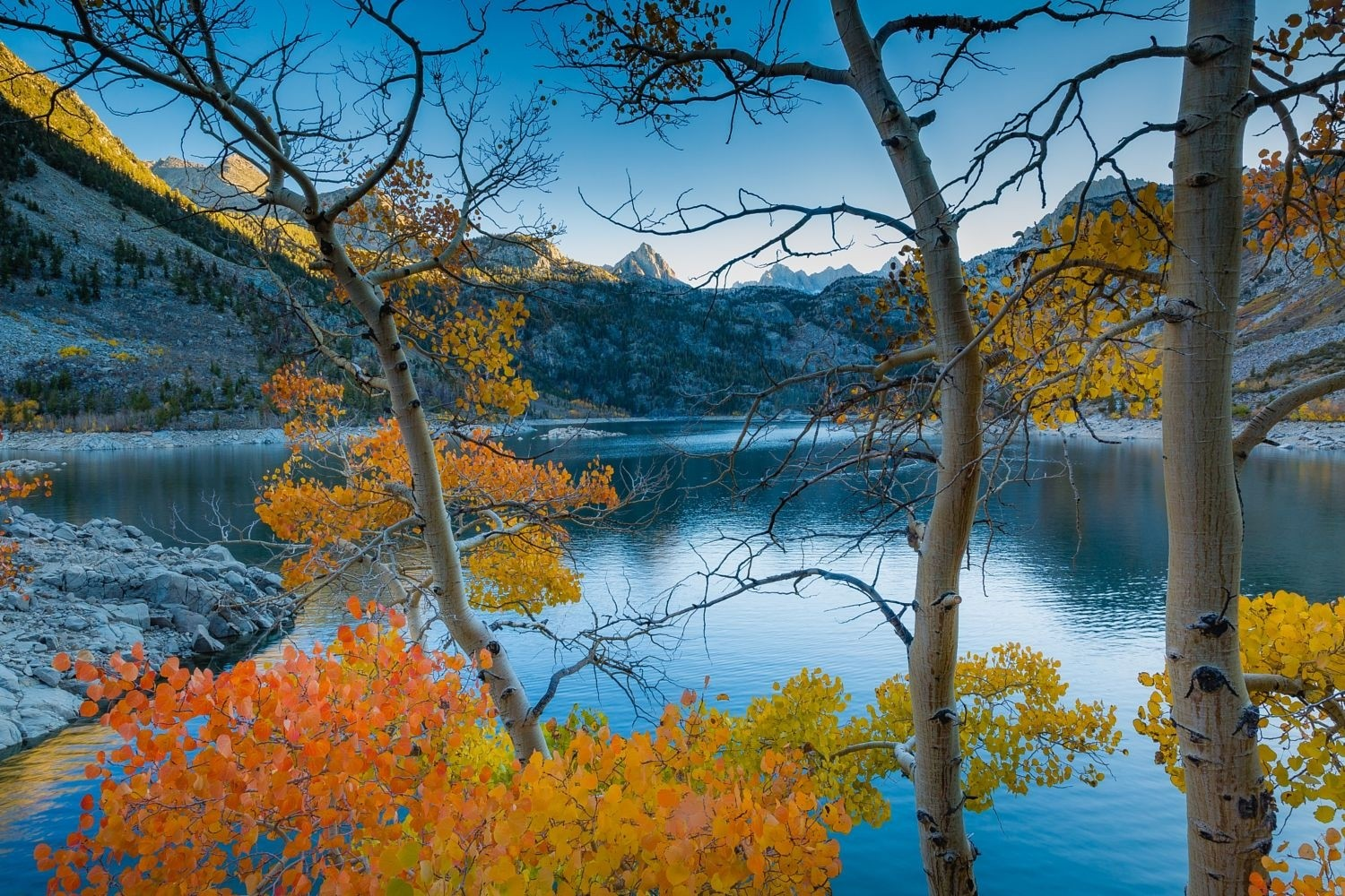 General 1500x1000 photography nature landscape lake mountains trees fall morning sunlight calm waters California