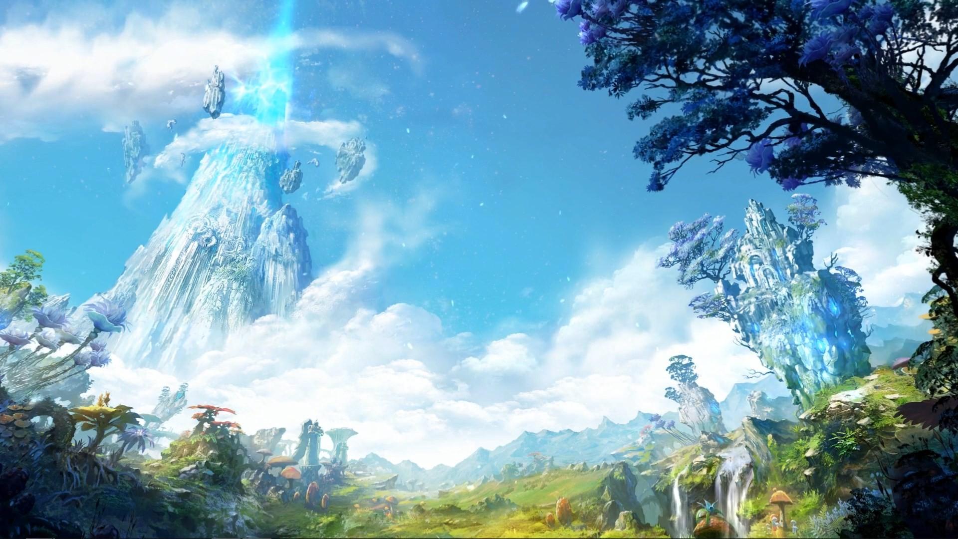 General 1920x1080 landscape fantasy art Aion Online mushroom clouds ruins cyan