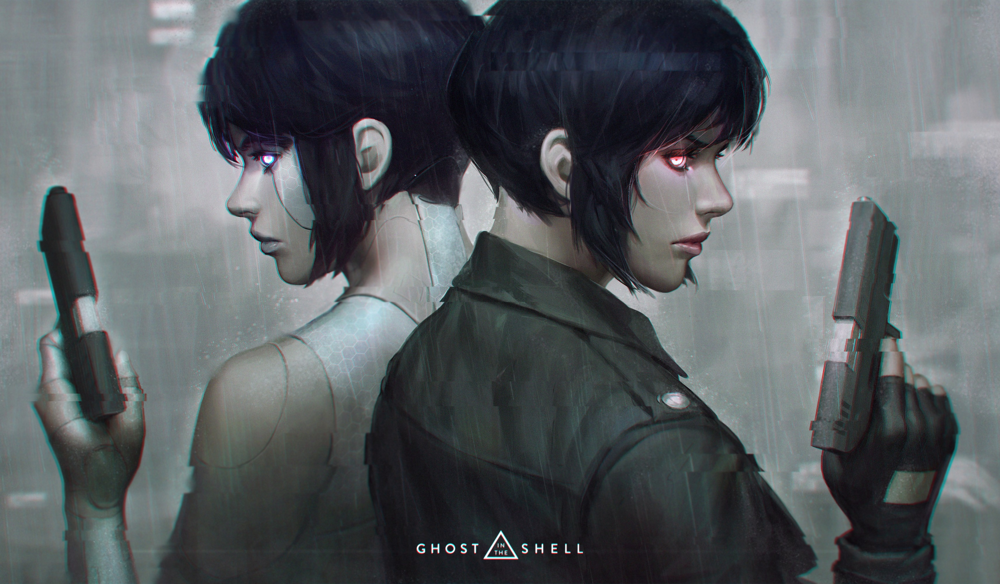 Anime 3423x2000 Ghost in the Shell cyborg gun blue hair blue eyes red eyes futuristic side view Kusanagi Motoko anime rain noir cyberpunk profile