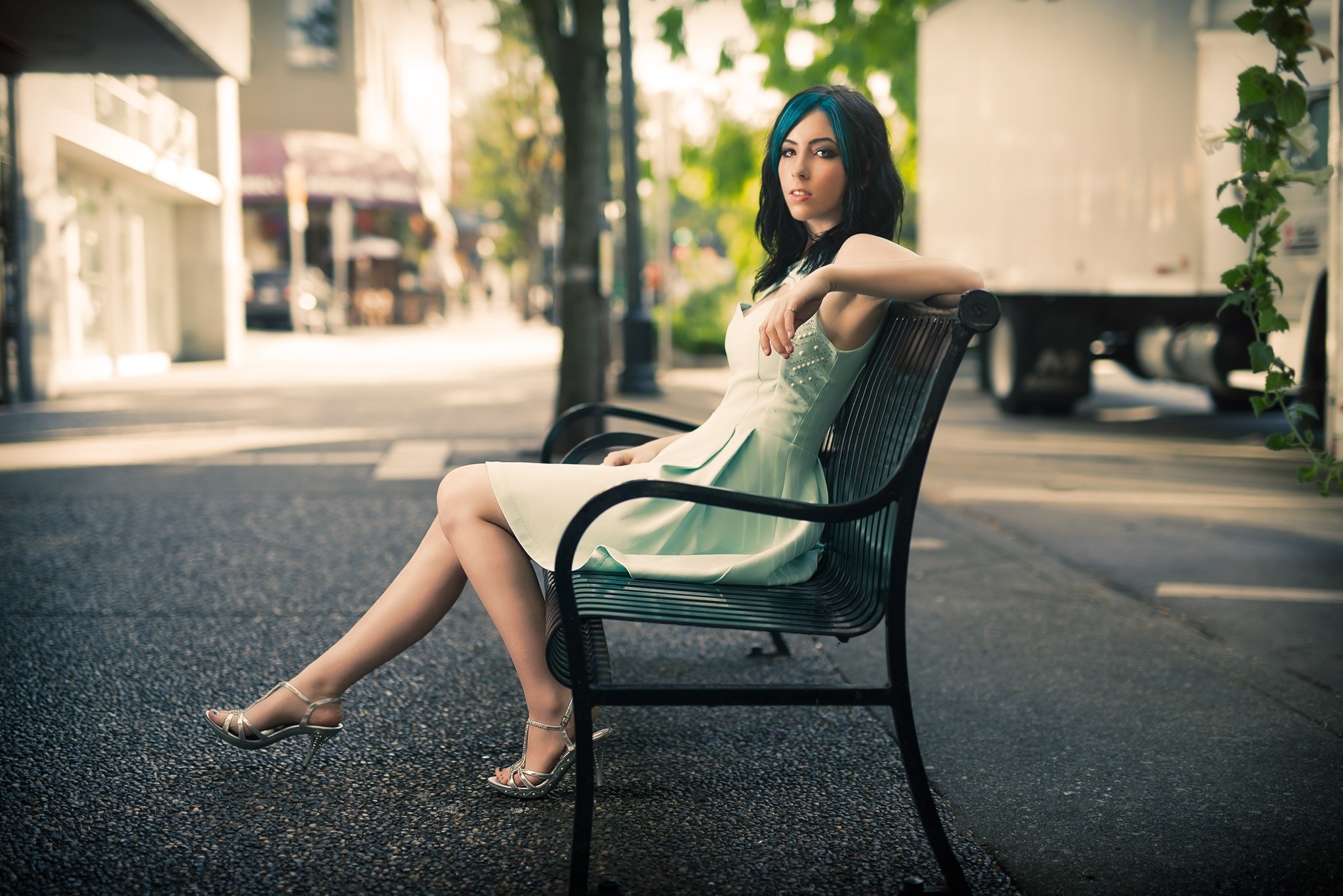 People 2048x1367 Kyle Cong women outdoors urban legs bench women 500px high heels feet black hair