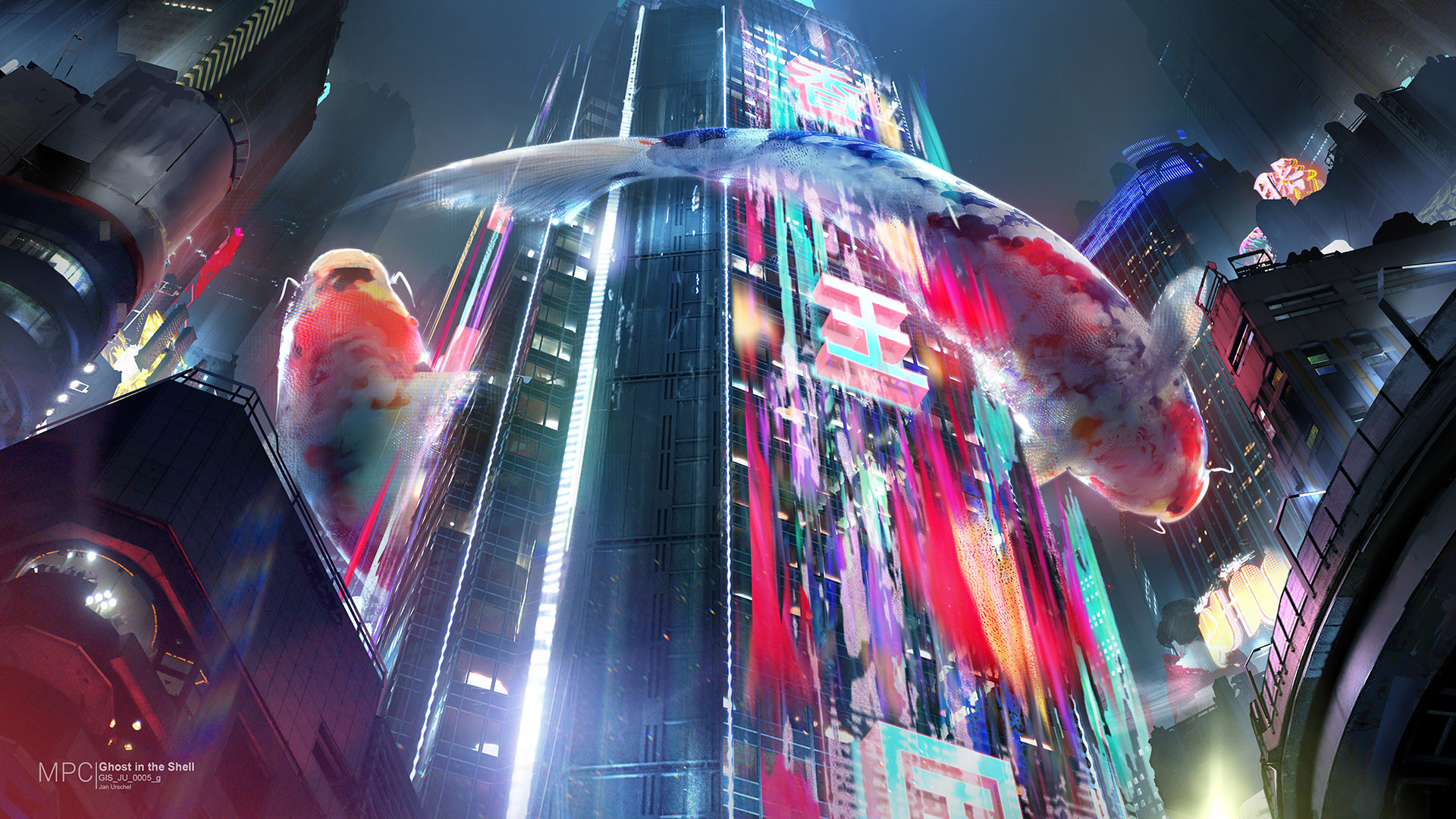 General 1920x1080 digital art fantasy art futuristic futuristic city Ghost in the Shell fish colorful concept art building worm's eye view skyscraper neon Jan Urschel science fiction