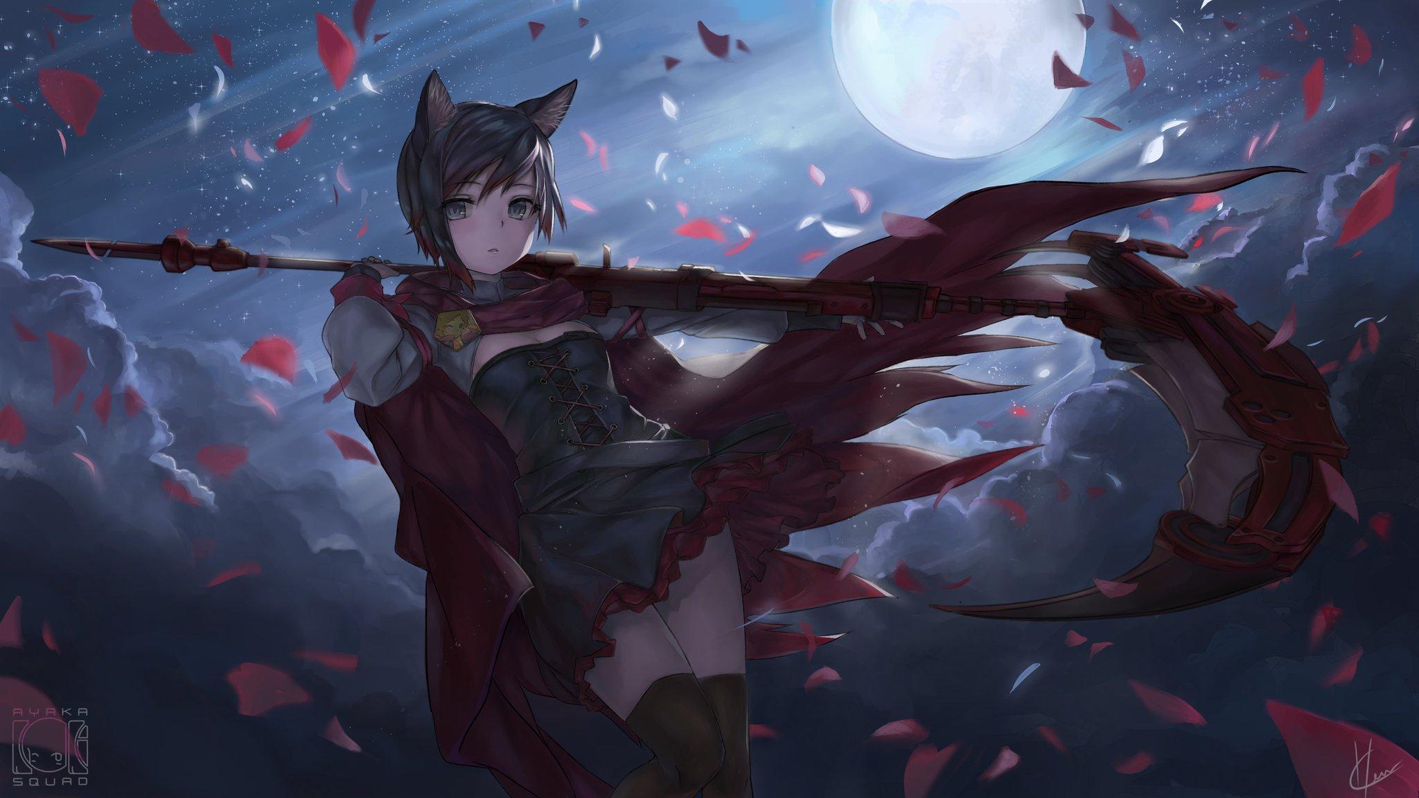 Anime 2048x1152 nekomimi cat girl scythe RWBY